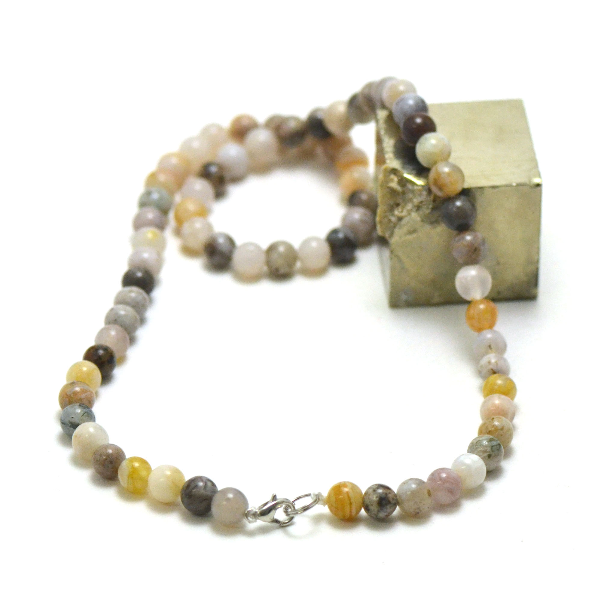 collier agate bambou perle ronde 6 mm