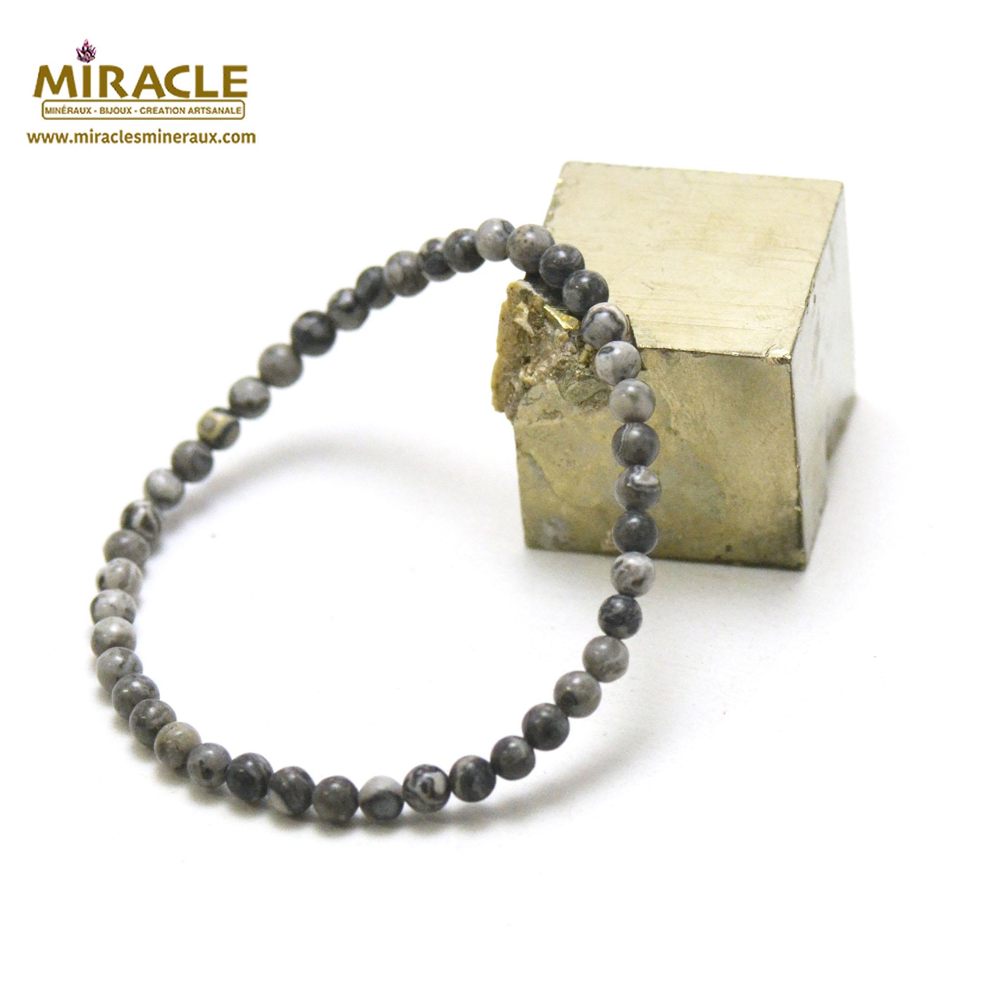 Bracelet Pinolite, perles rond 4 mm