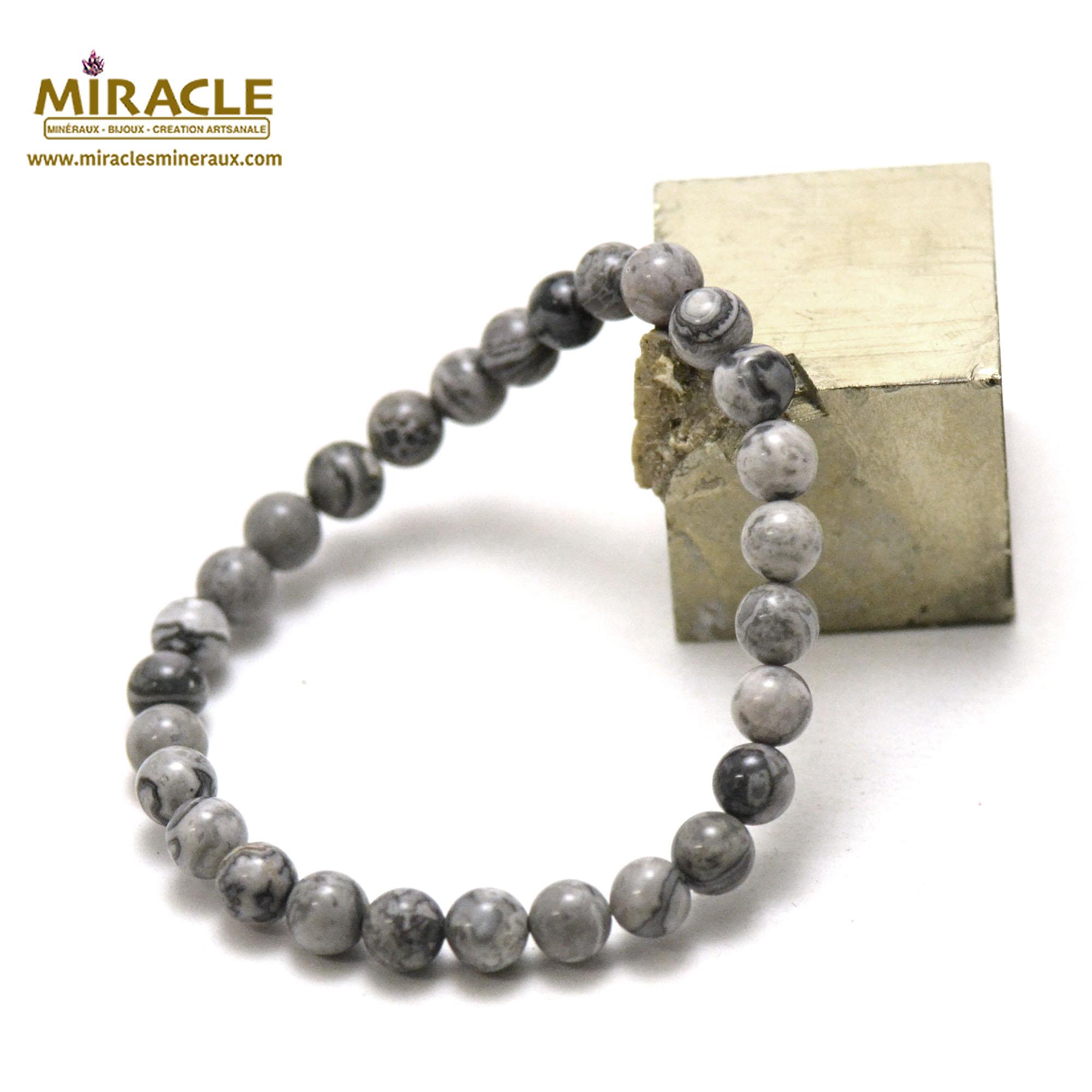 Bracelet Pinolite, perles rond 6 mm