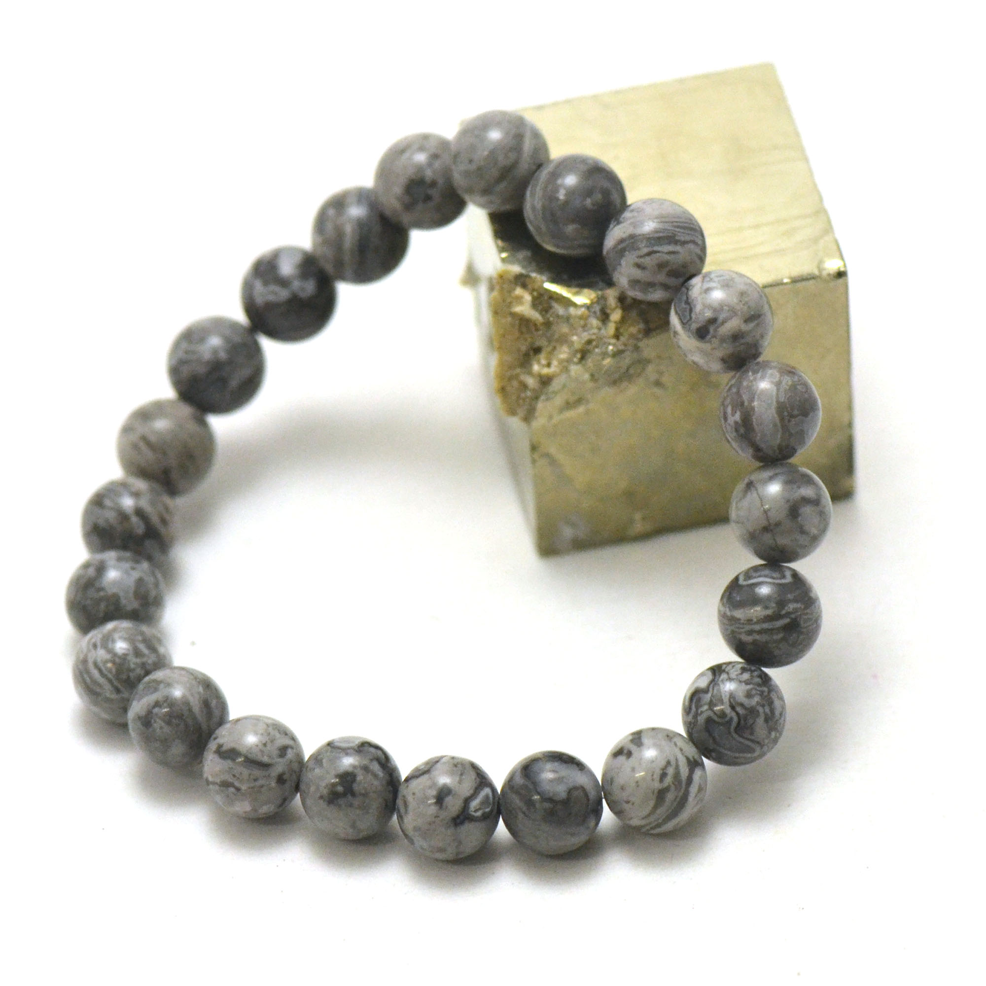 Bracelet Pinolite, perles rond 8 mm