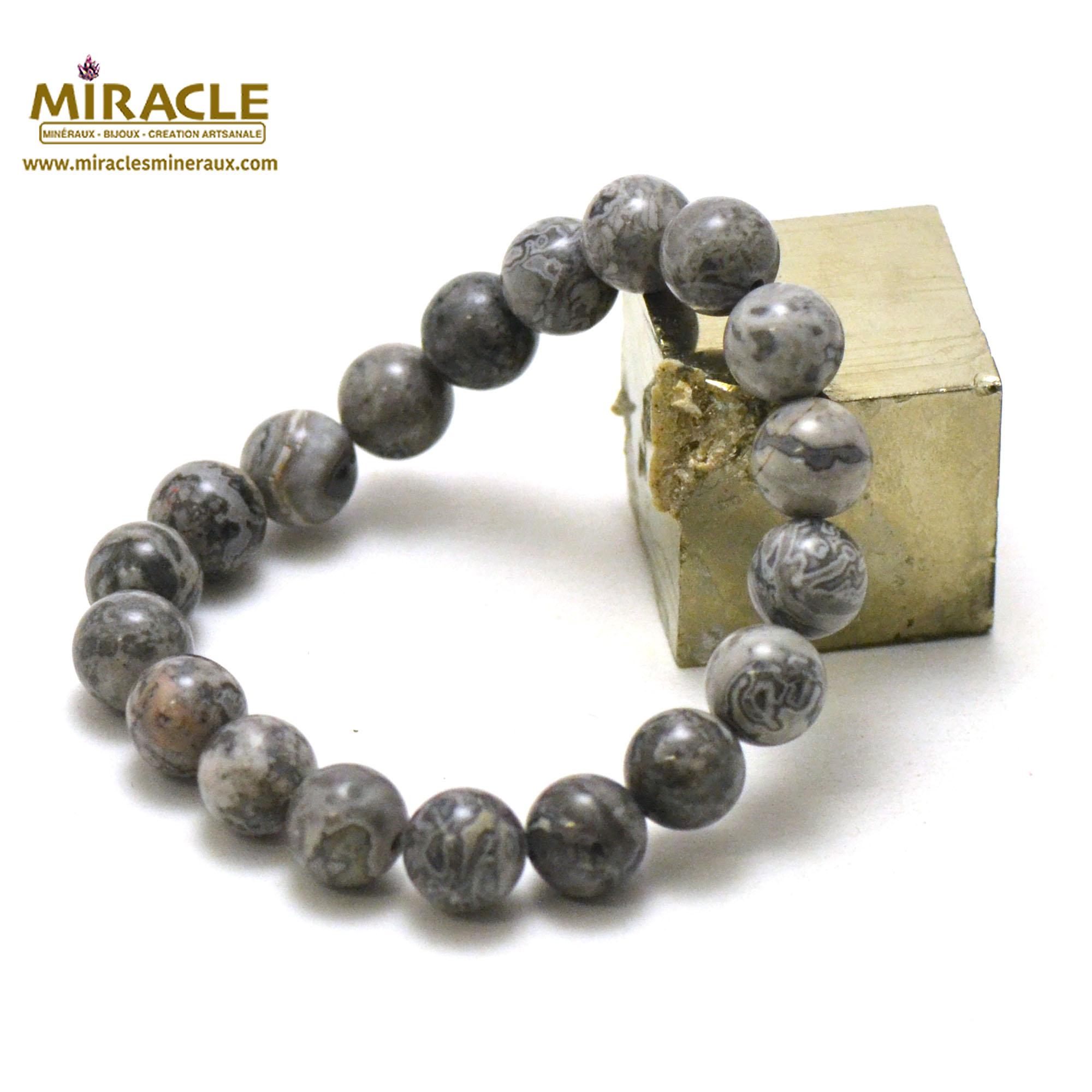 Bracelet Pinolite, perles rond 10 mm