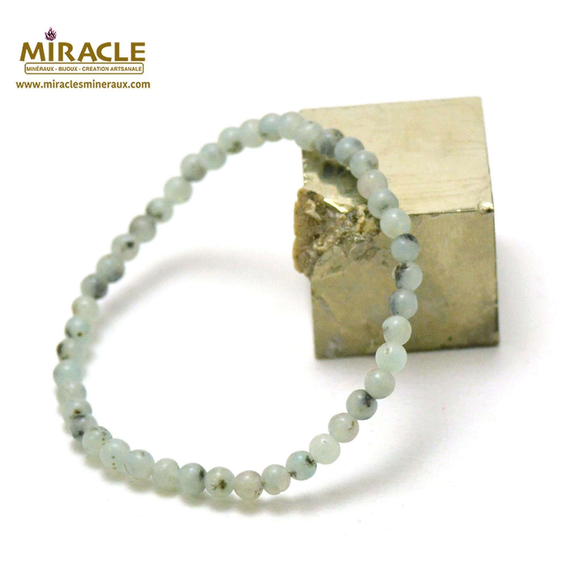 Bracelet jade néphrite des Andes, perles rond 4 mm