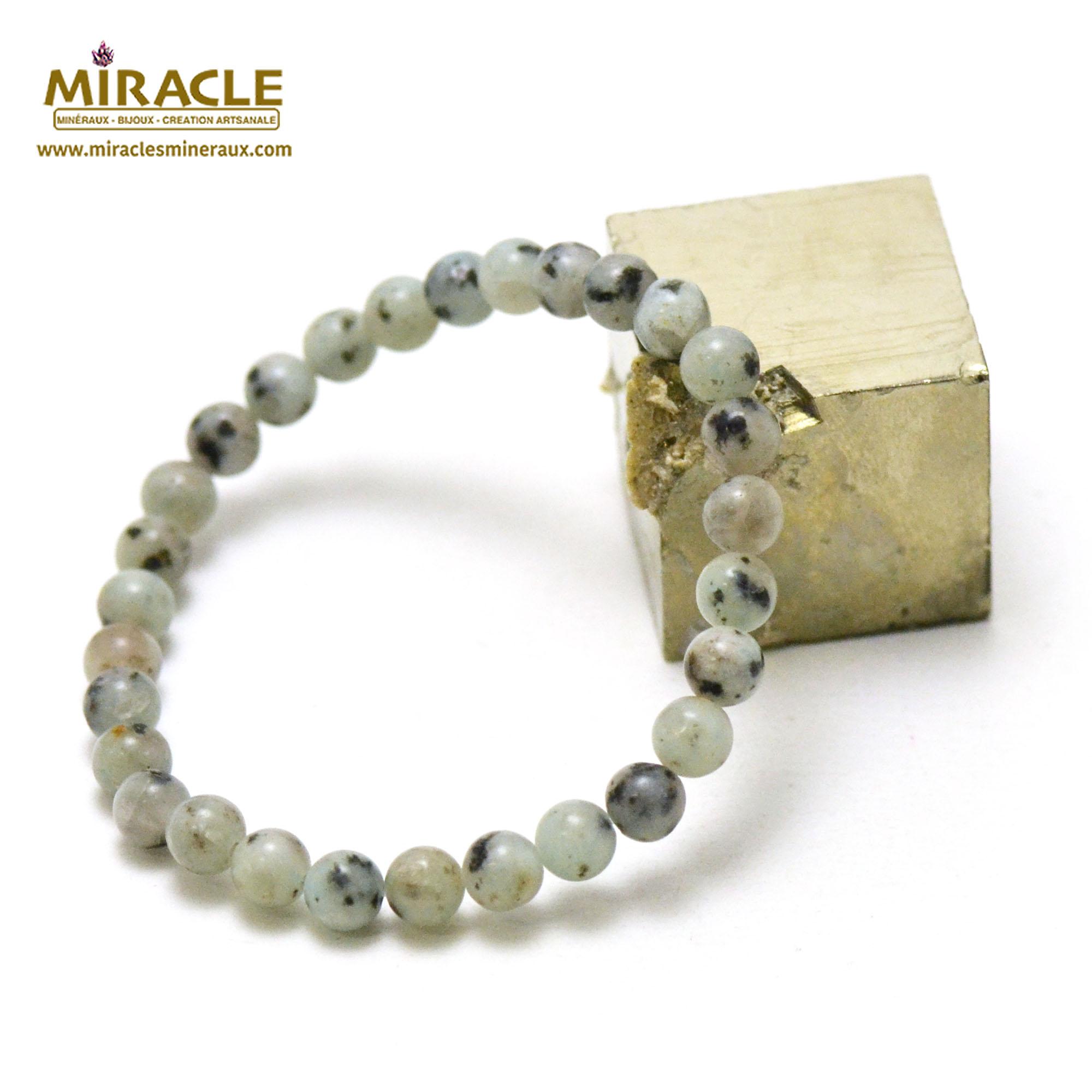 Bracelet jade néphrite des Andes, perles rond 6 mm