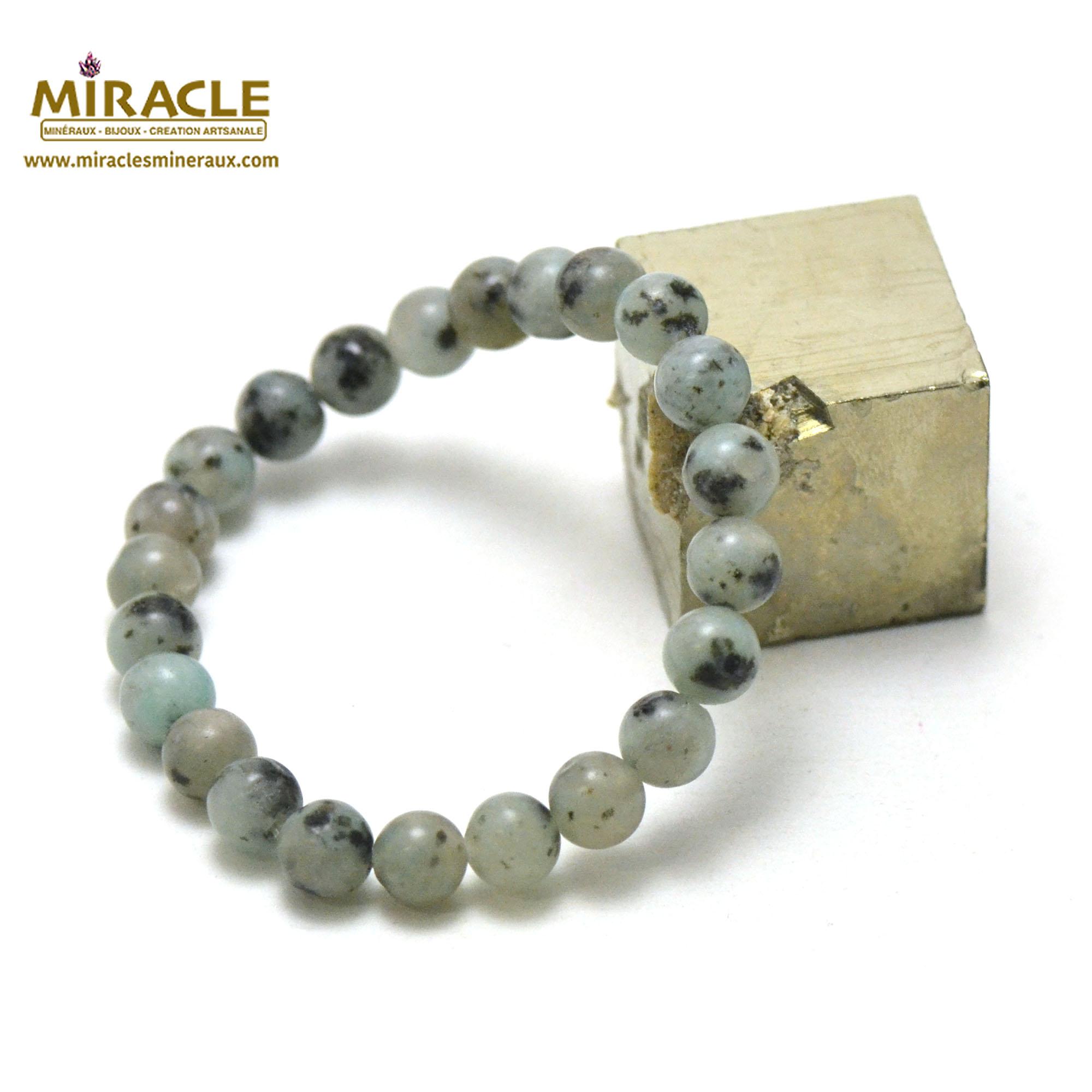 Bracelet jade néphrite des Andes, perles rond 8 mm
