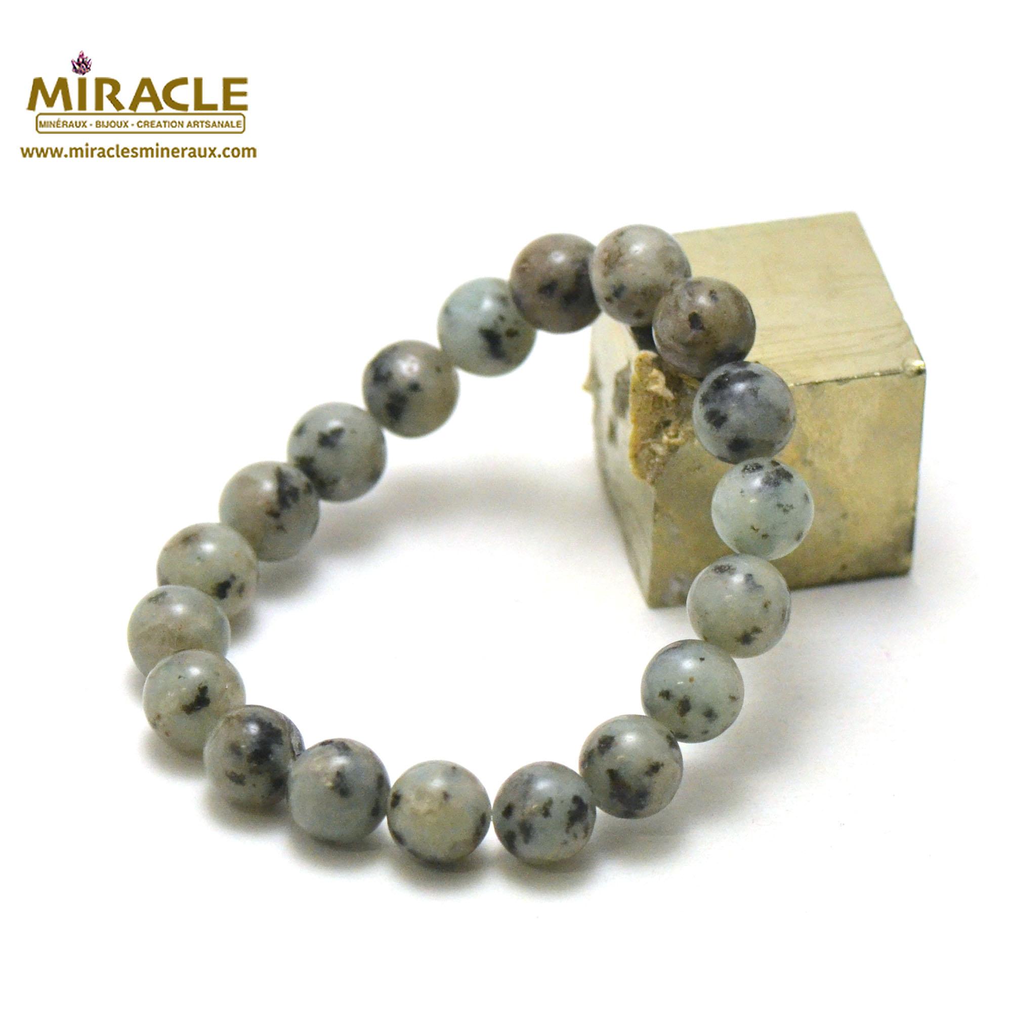 Bracelet jade néphrite des Andes, perles rond 10 mm