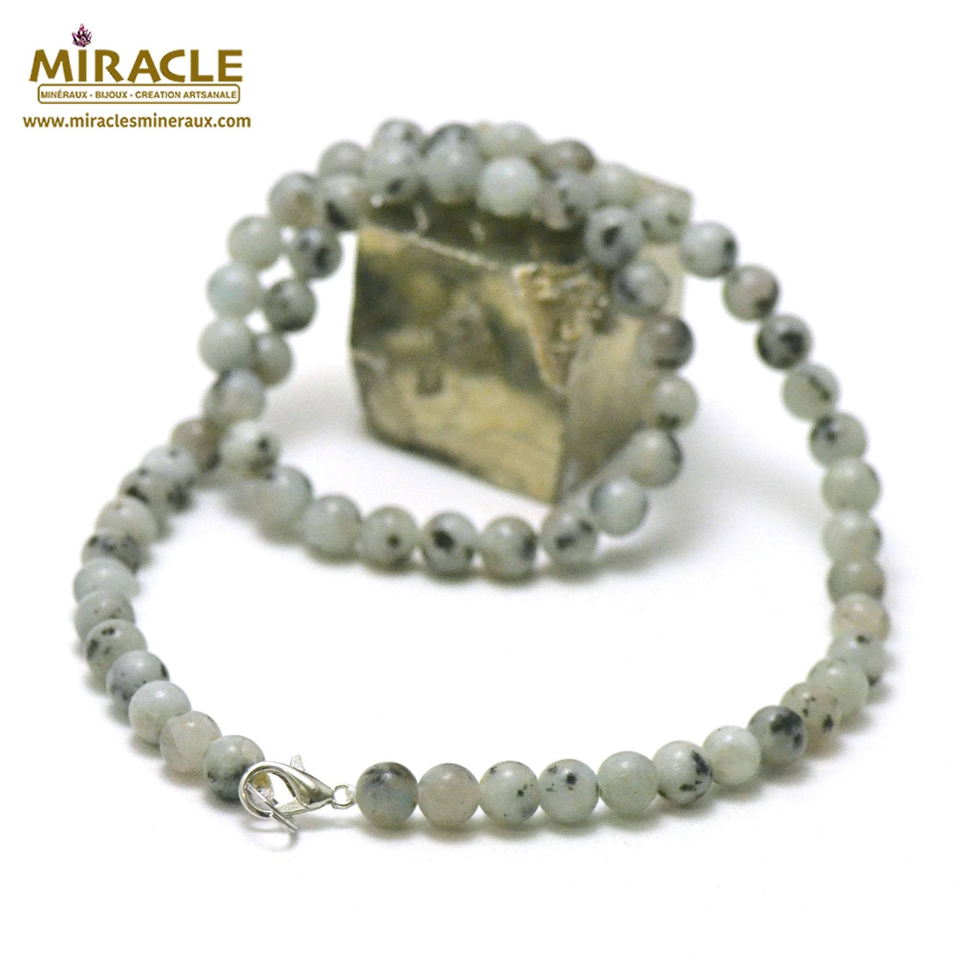 collier Jade néphrite des Andes perle ronde 6 mm