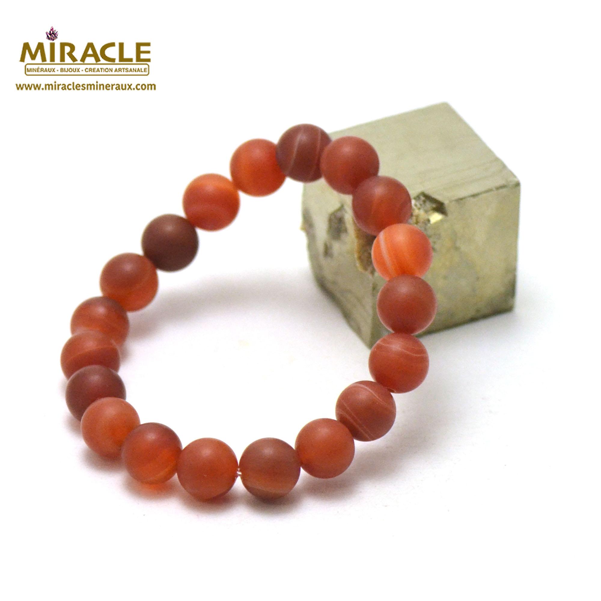 Bracelet cornaline givré perle mat ronde 10 mm