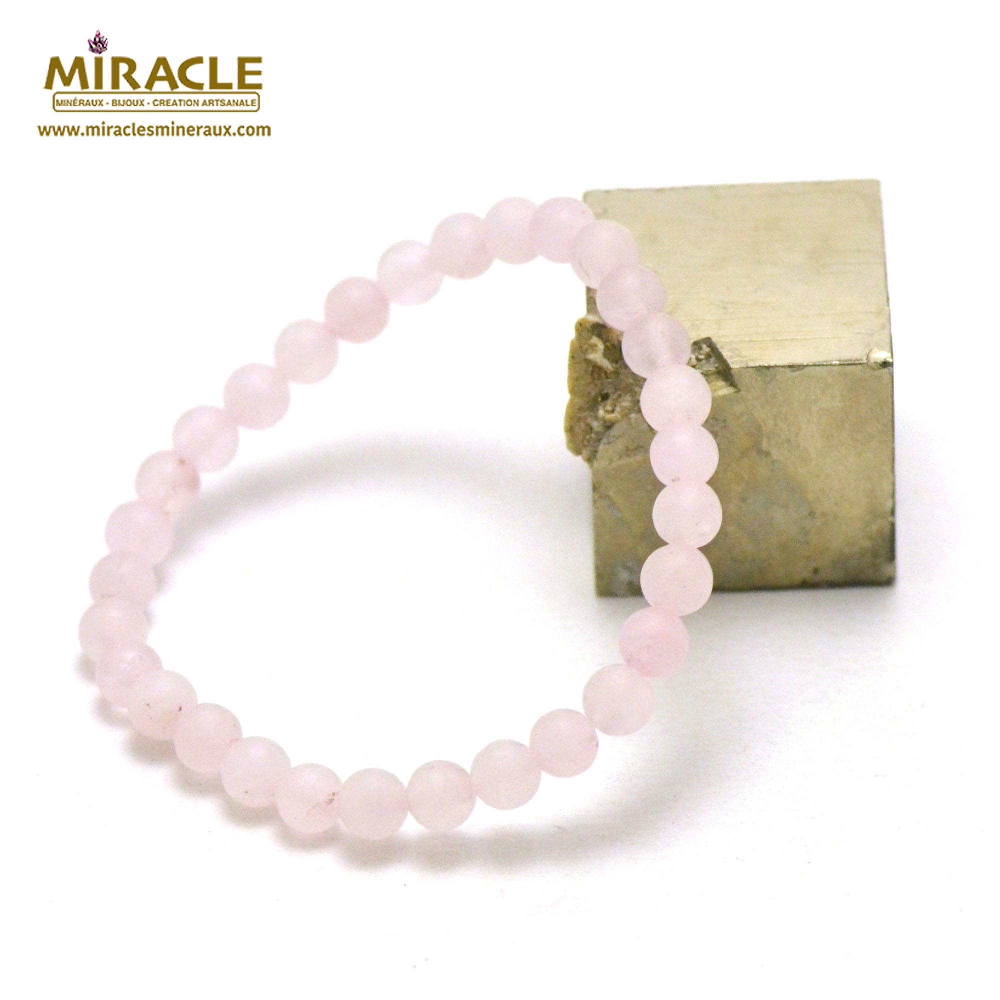 bracelet quartz rose givré perle mat ronde 6 mm