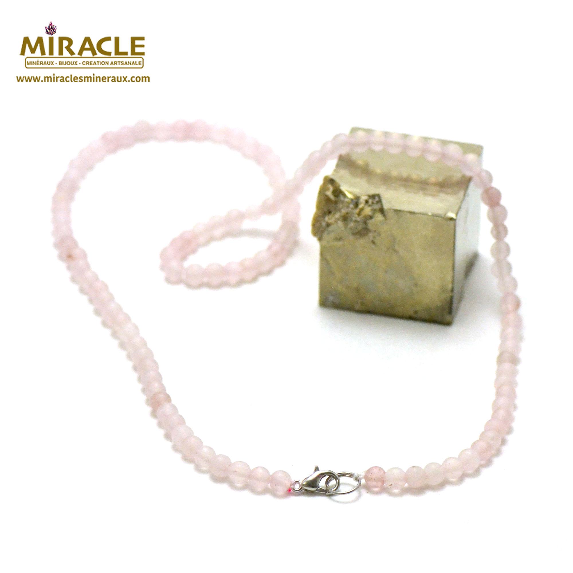 collier quartz rose givré perle mat ronde 4 mm