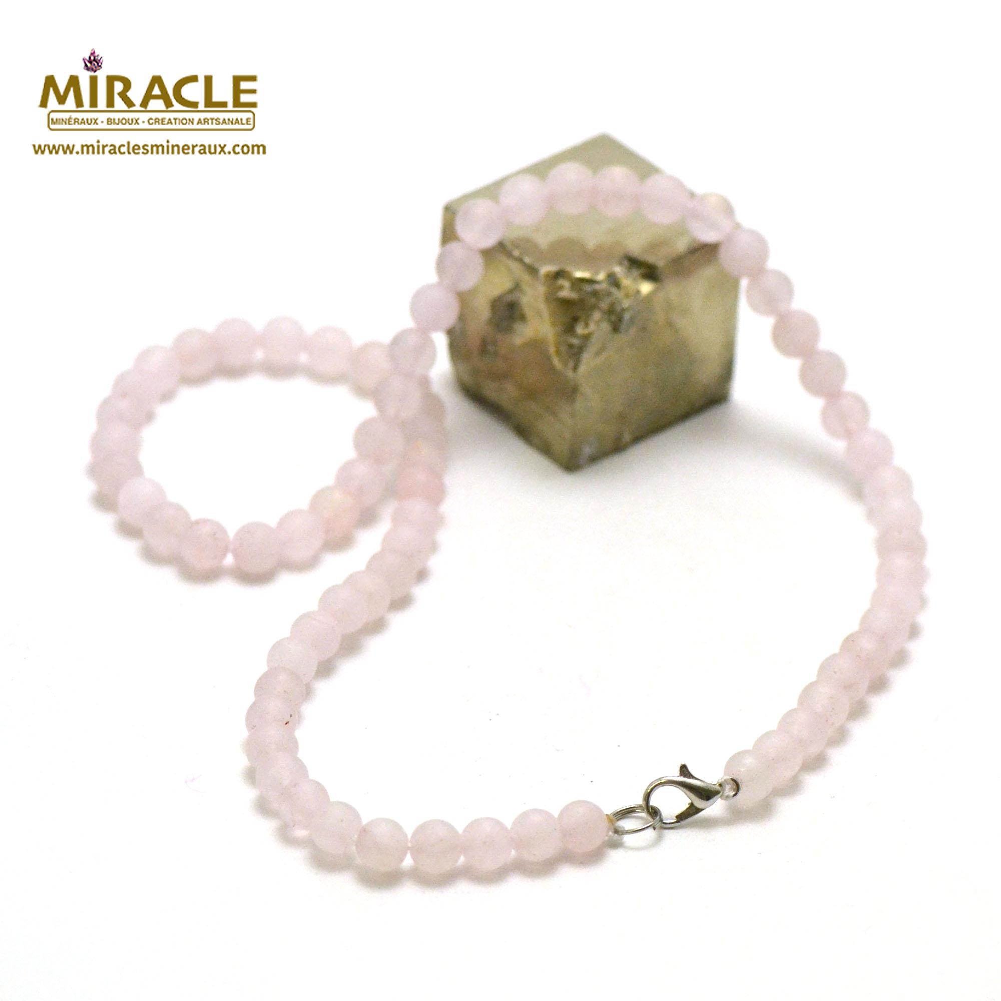 collier quartz rose givré perle mat ronde 6 mm