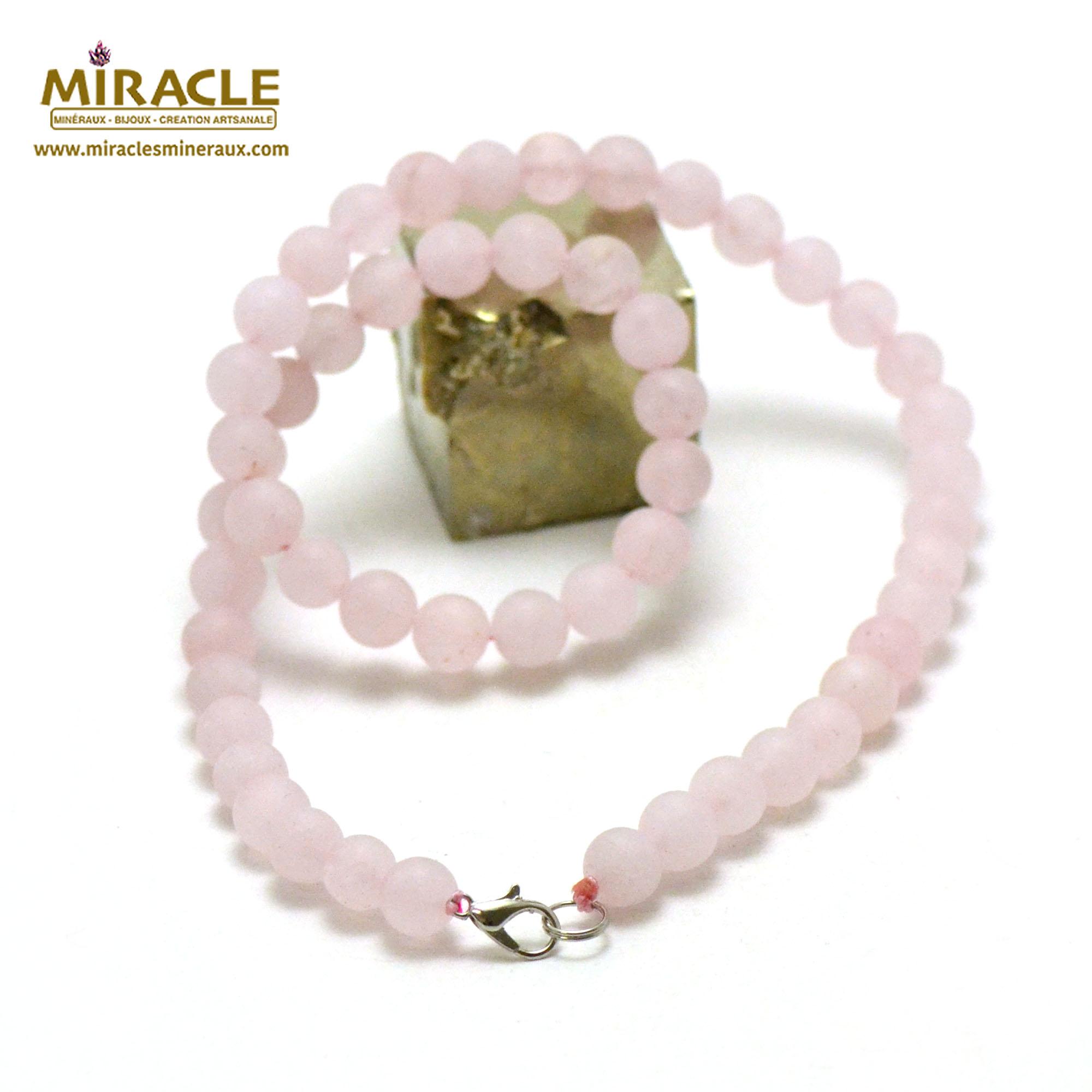 collier quartz rose givré perle mat ronde 8 mm
