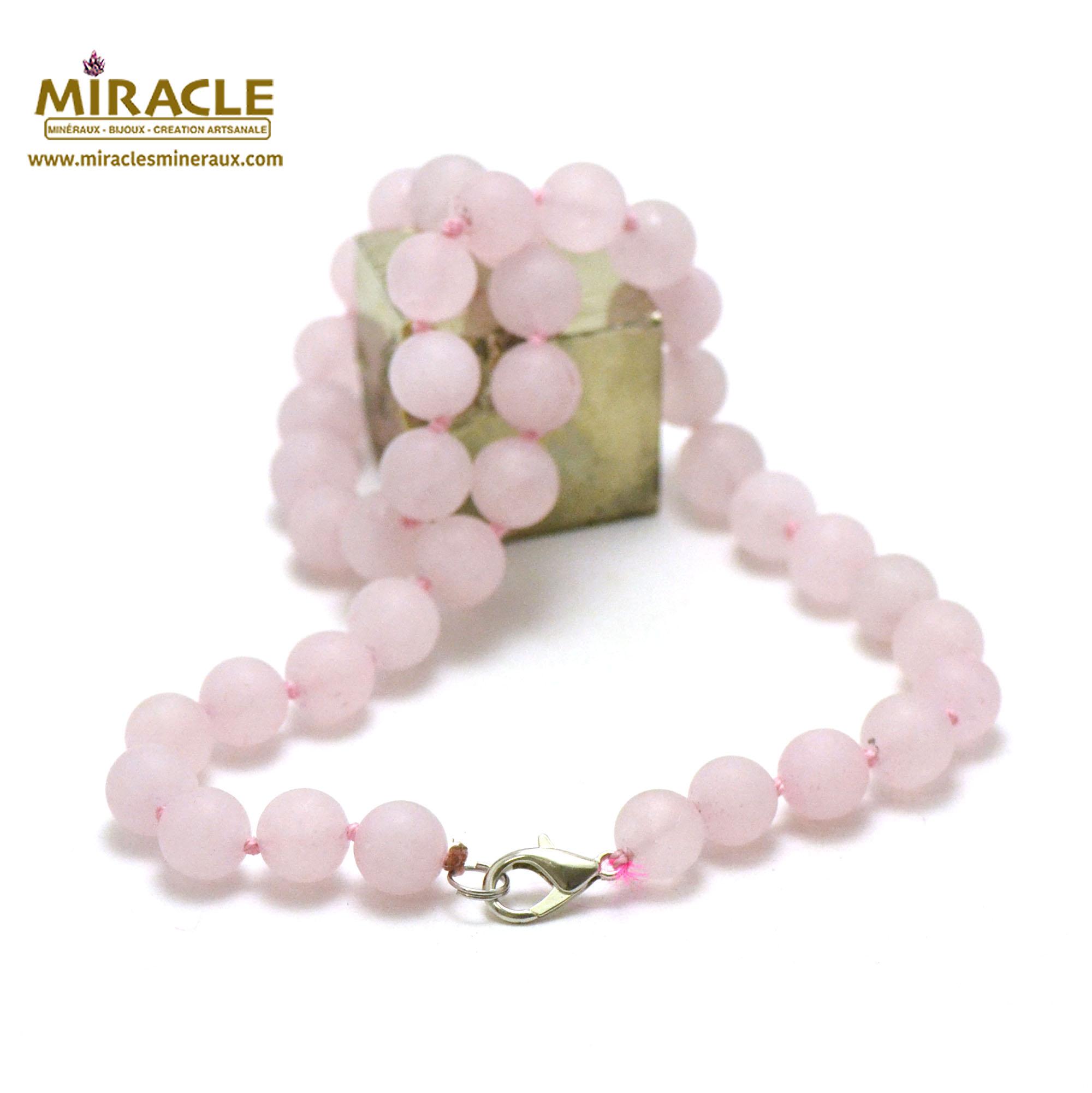 collier quartz rose givré perle mat ronde 10 mm
