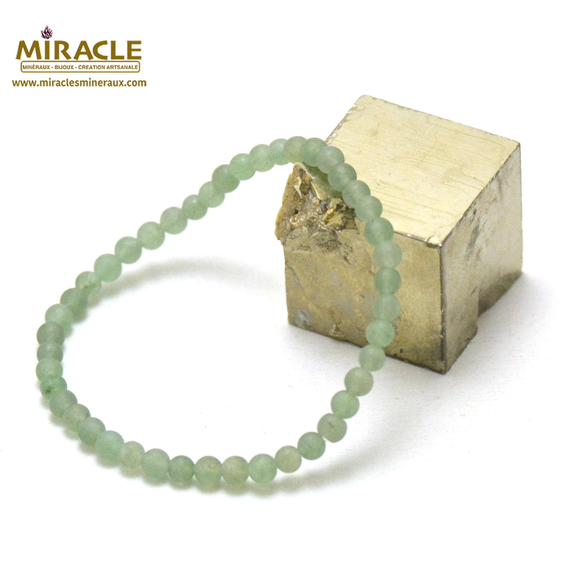 bracelet aventurine givré  perle mat ronde 4 mm