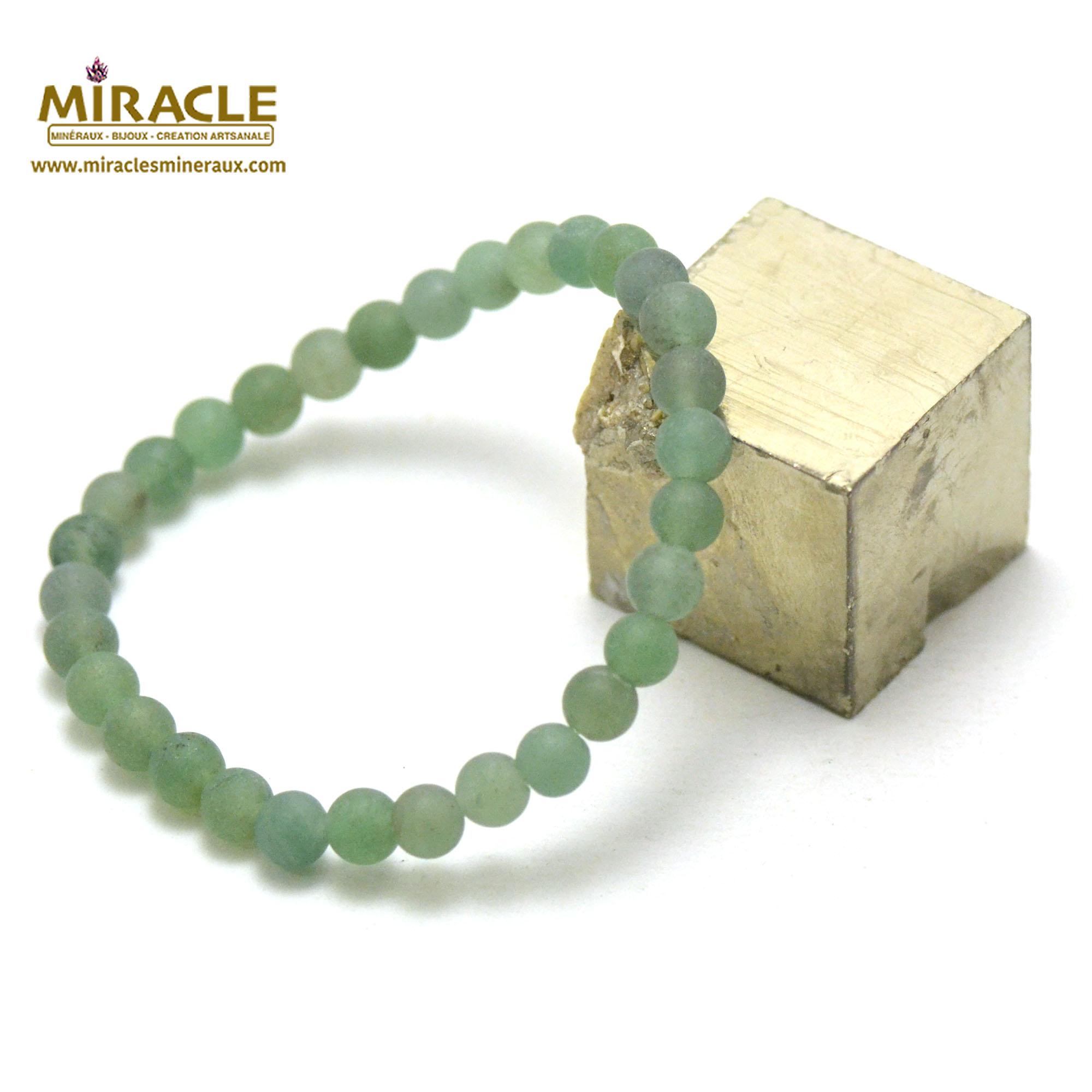 bracelet aventurine givré  perle mat ronde 6 mm