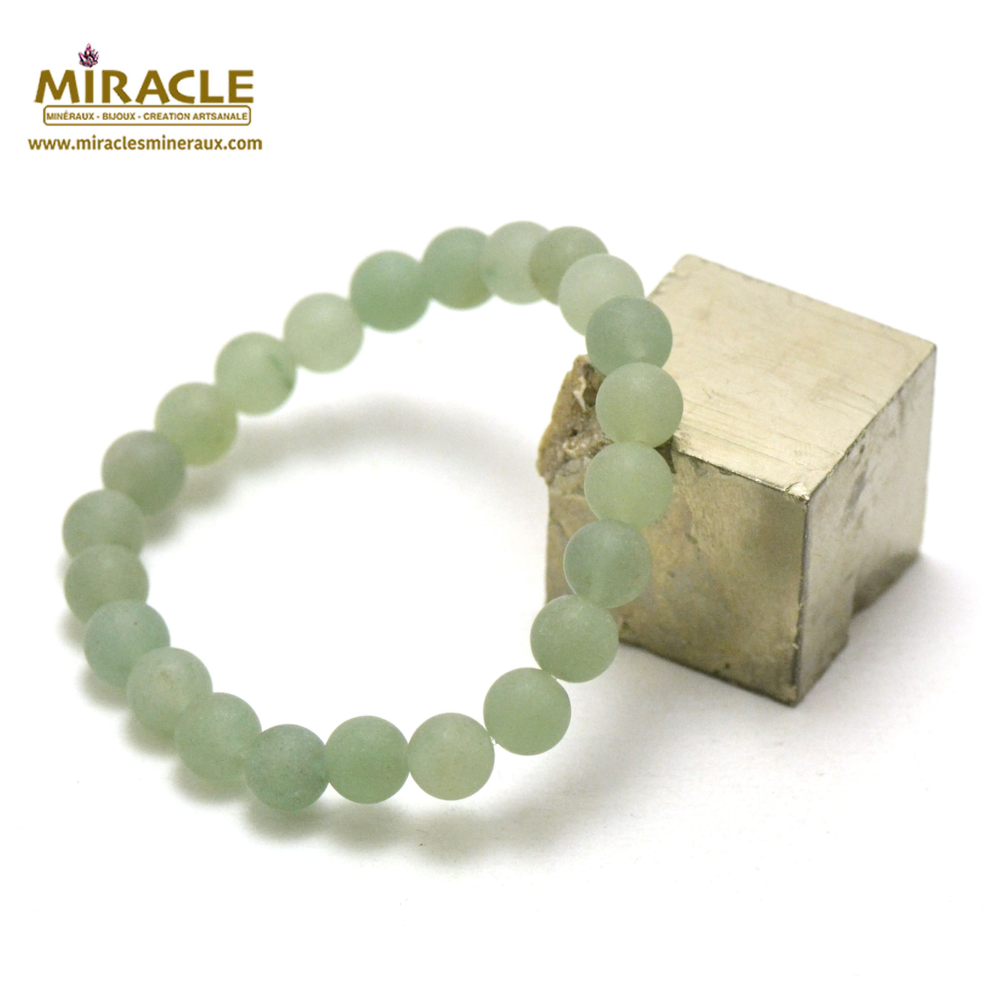 bracelet aventurine givré  perle mat ronde 8 mm