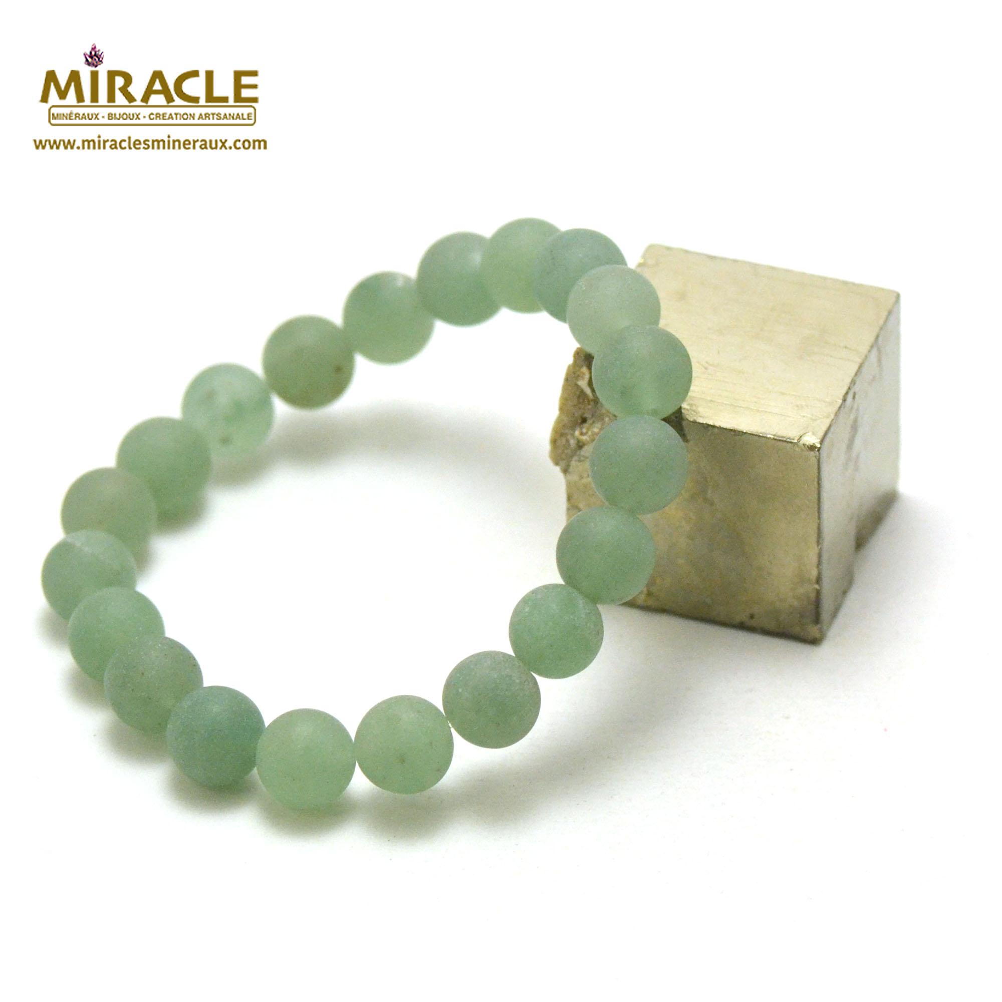 bracelet aventurine givré  perle mat ronde 10 mm