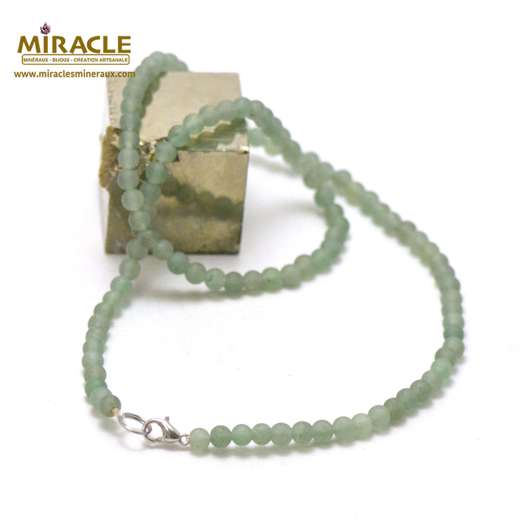 collier aventurine givré perle mat ronde 4 mm