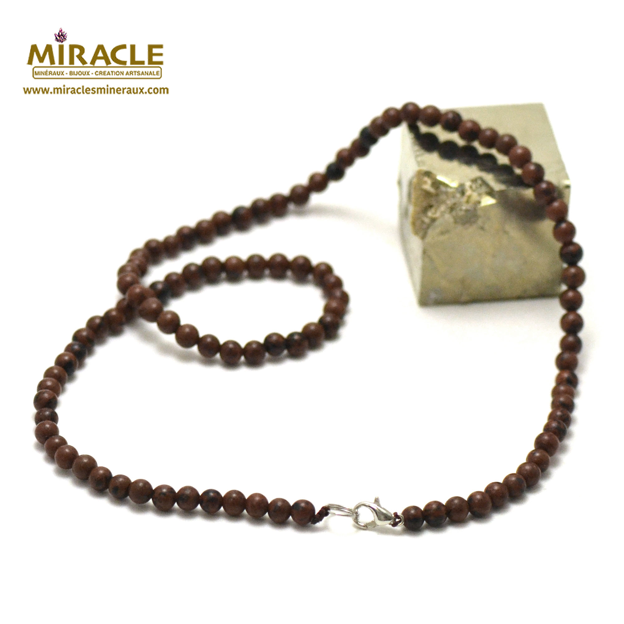 collier obsidienne acajou perle ronde 4 mm