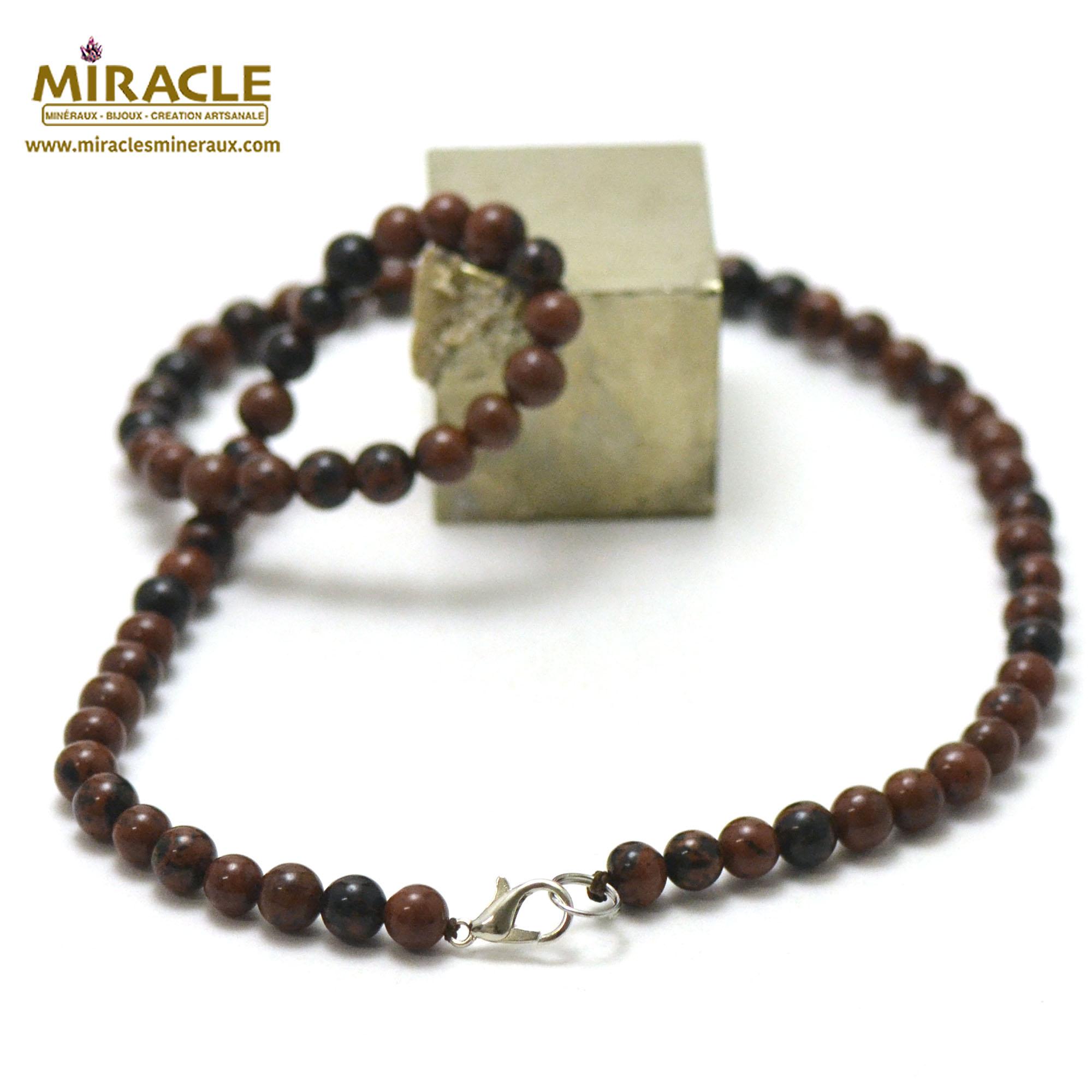 collier obsidienne acajou perle ronde 6 mm