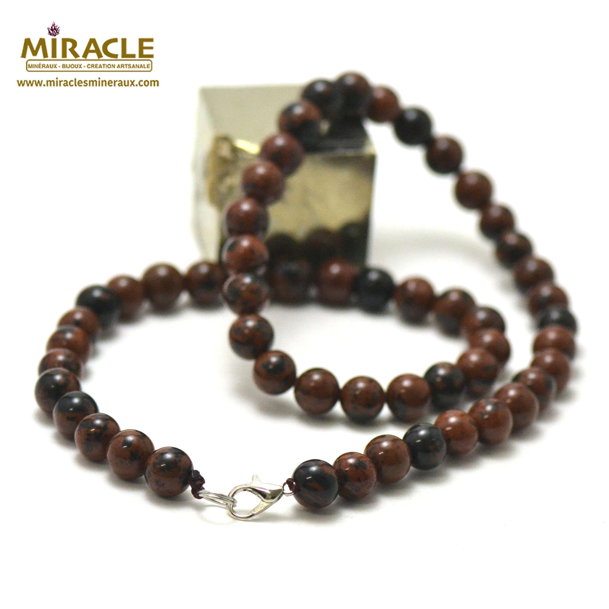 collier obsidienne acajou perle ronde 8 mm