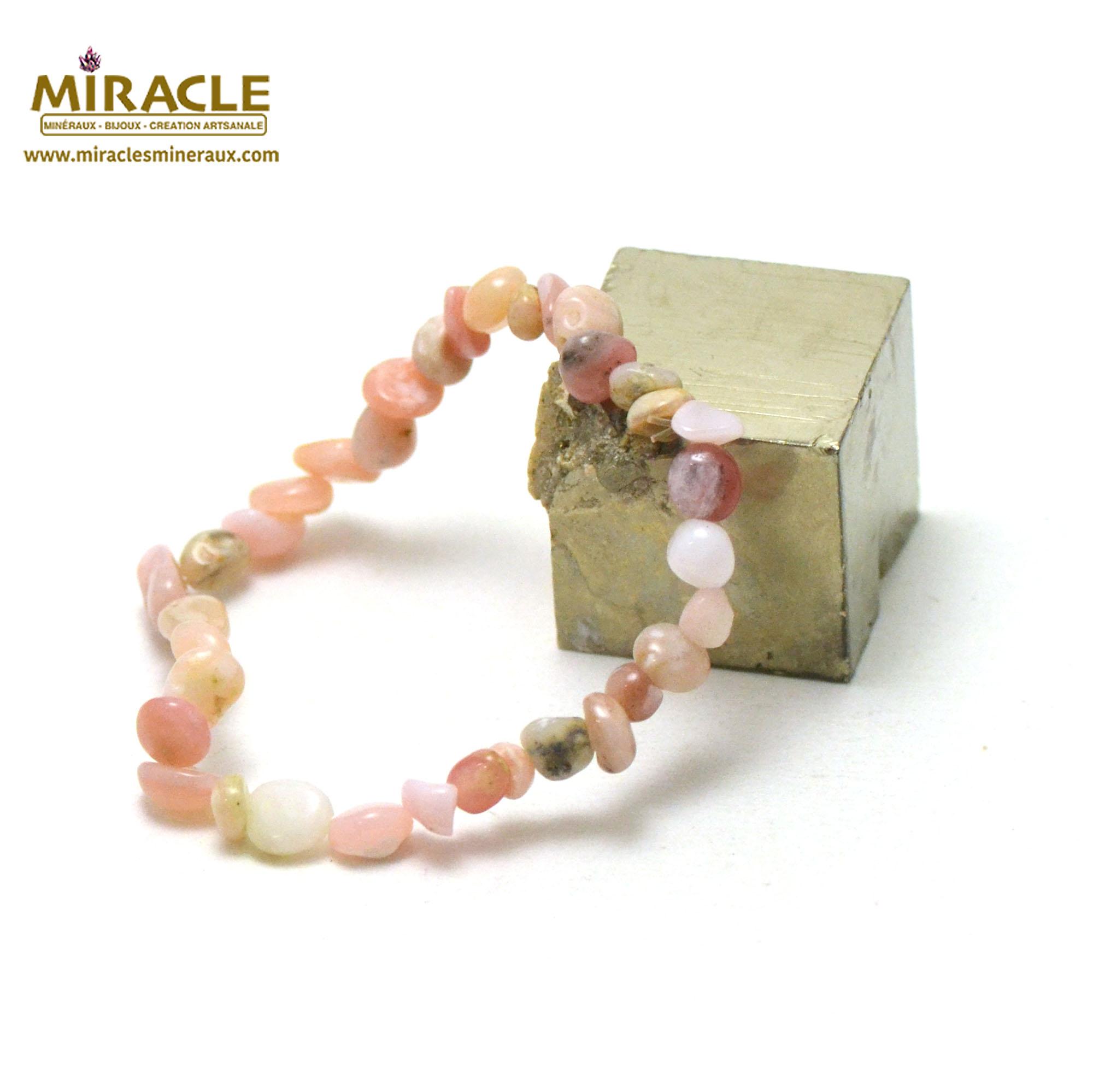bracelet opale rose des Andes pierre roulée