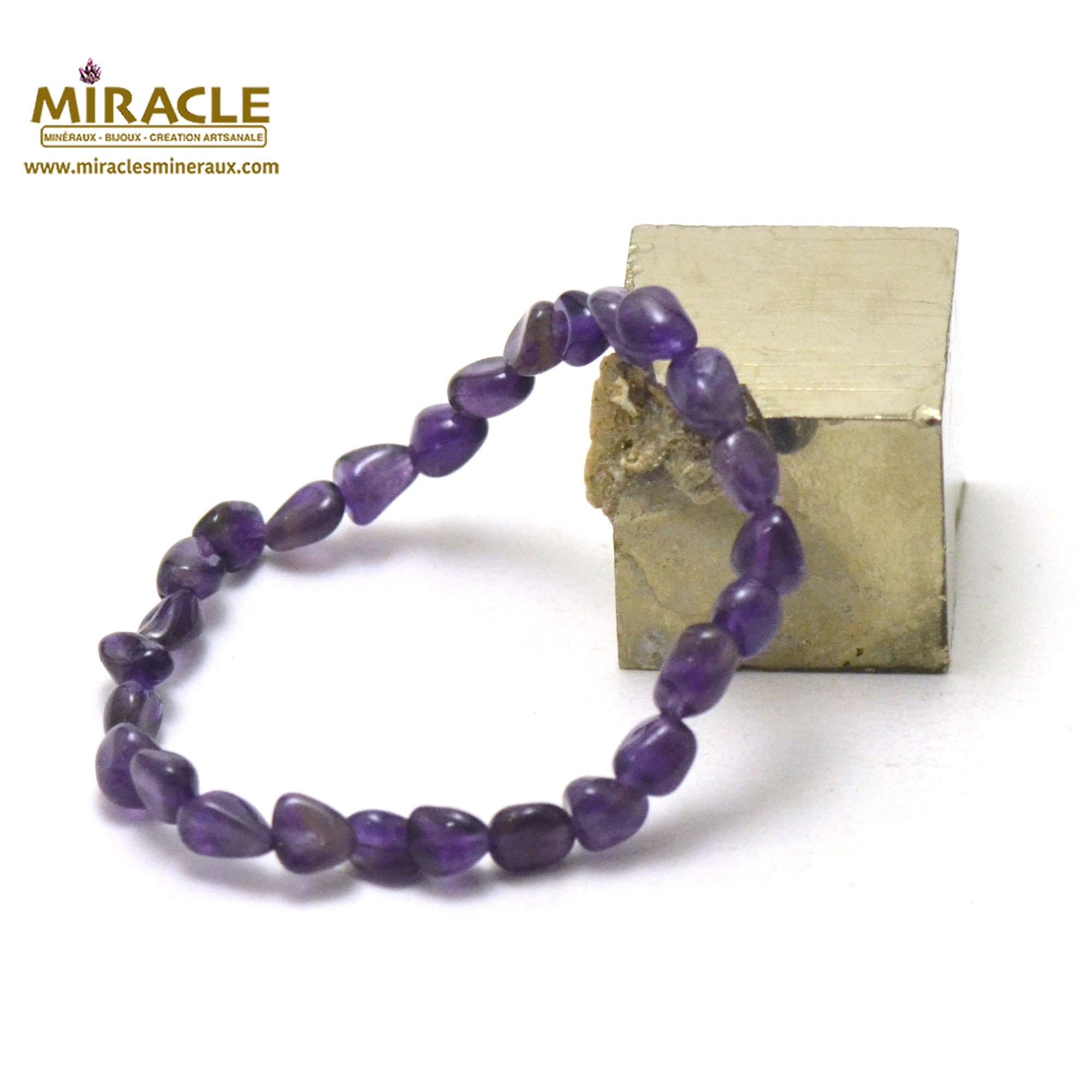 bracelet améthyste pierre roulée