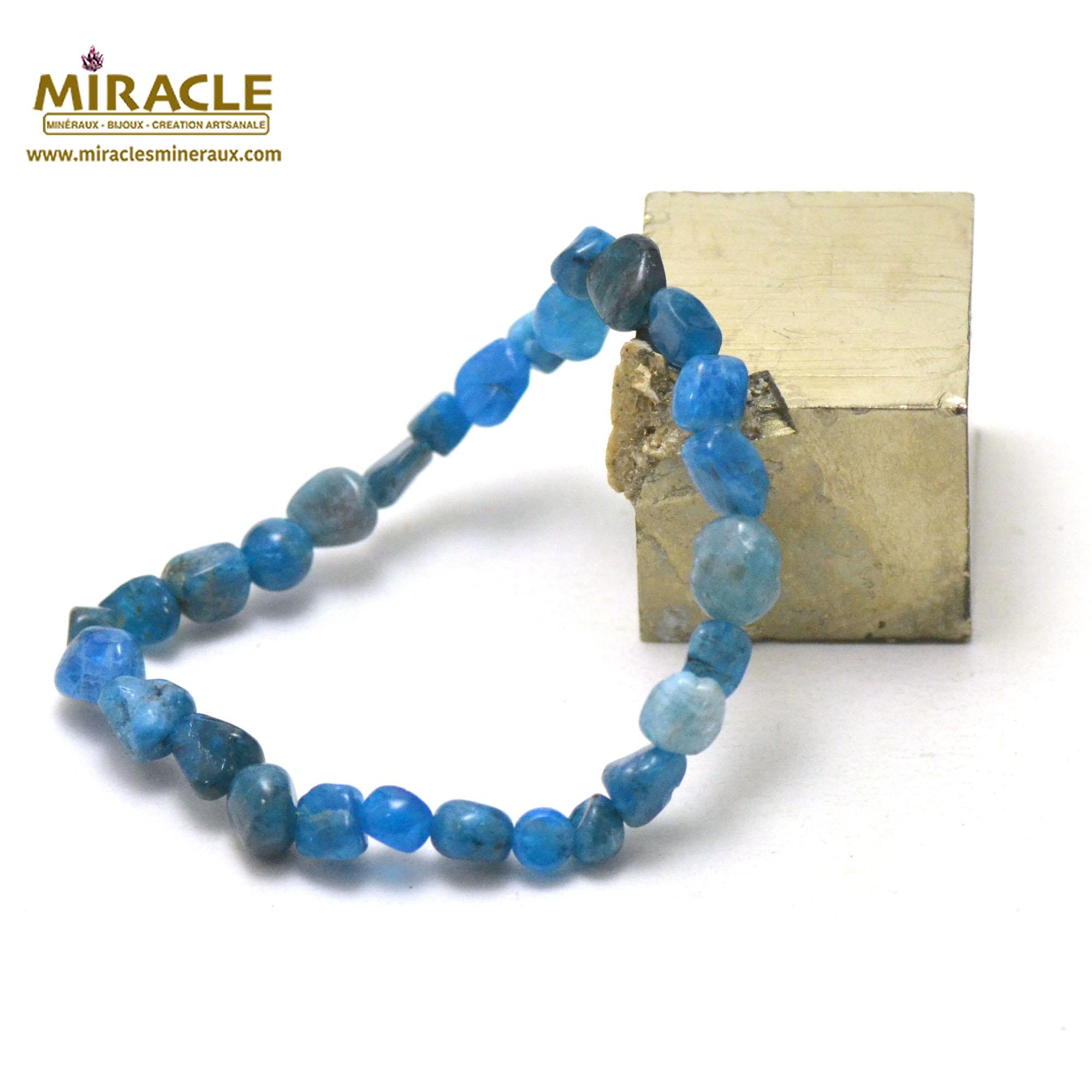 bracelet apatite, perle pierre roulée