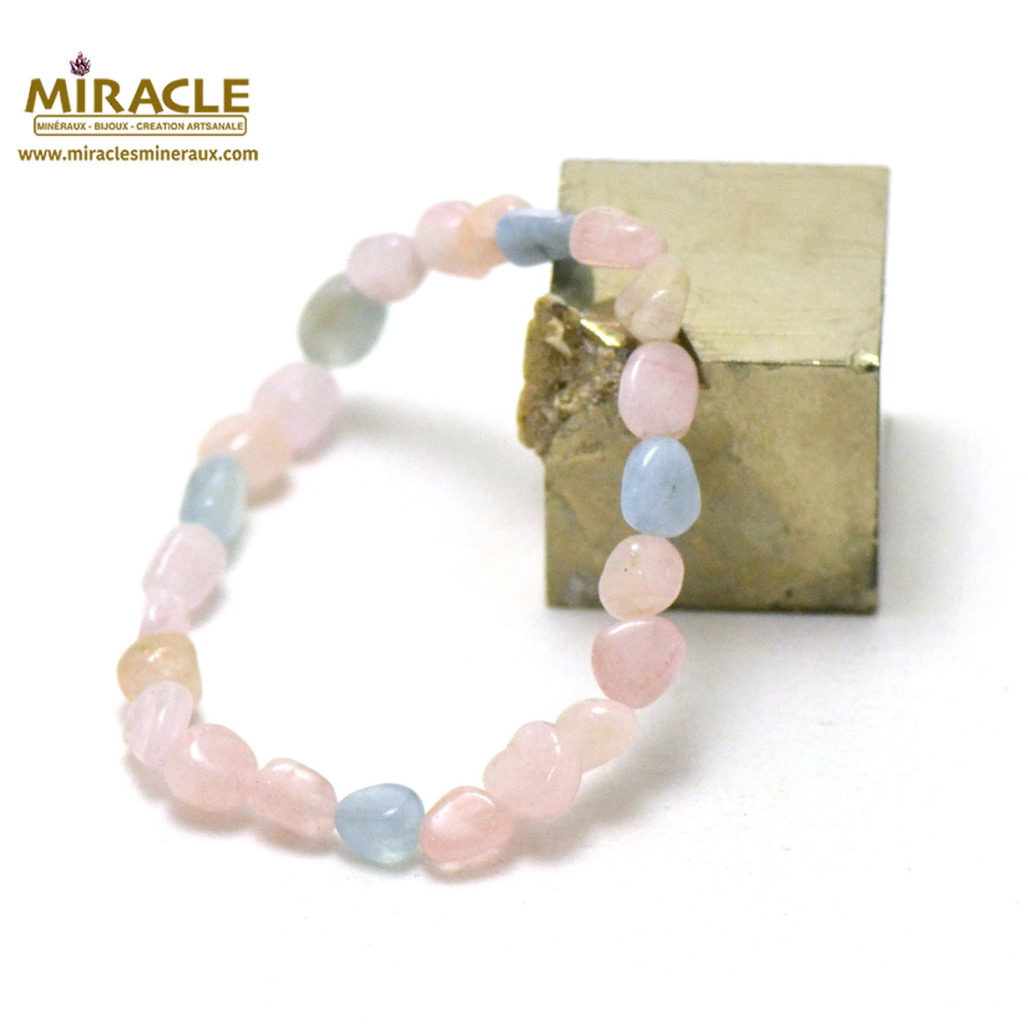 bracelet Béryl morganite pierre roulée