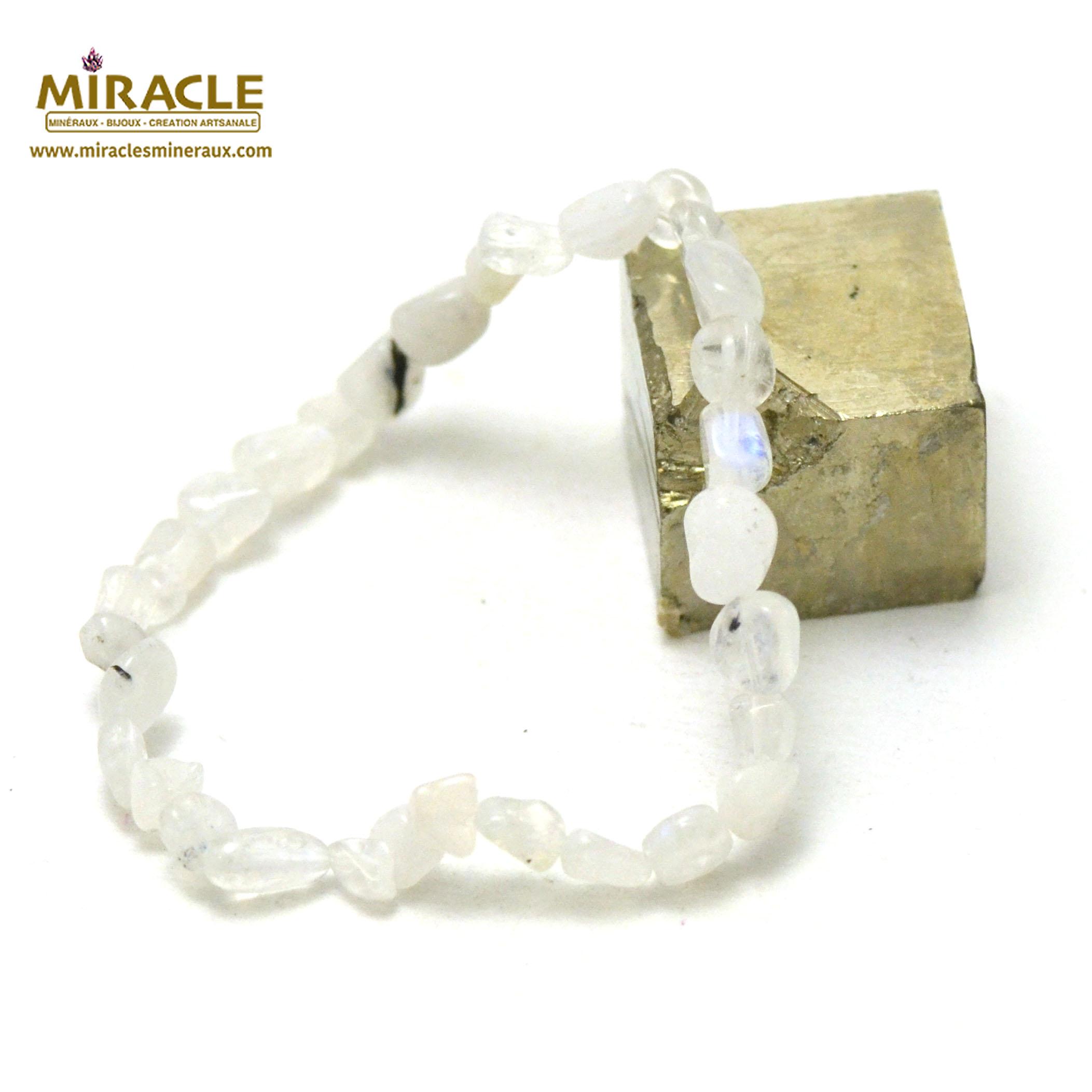 bracelet pierre de lune, perle pierre roulée