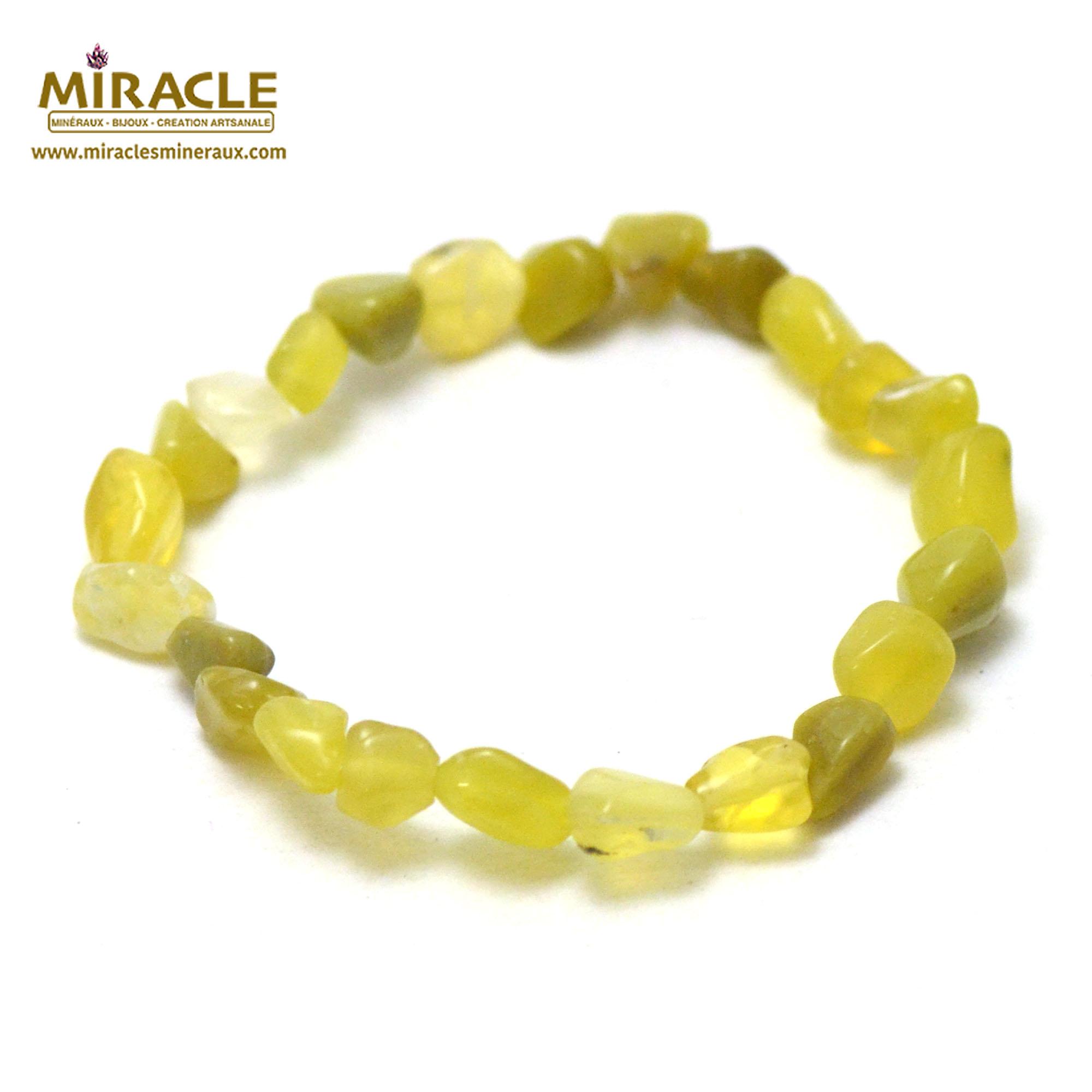 bracelet opale jaune pierre roulée