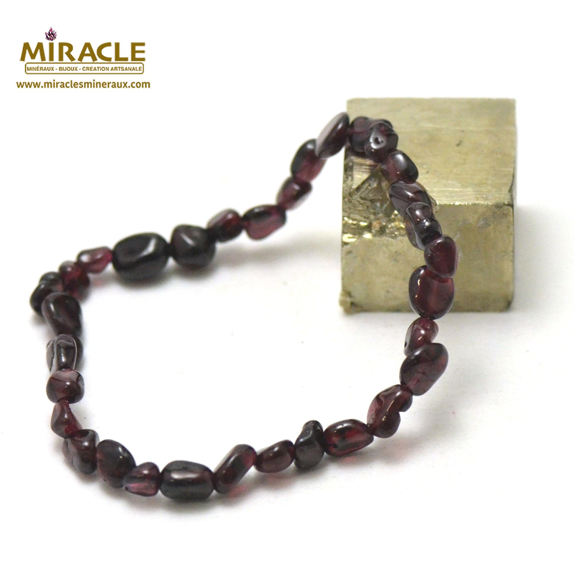 bracelet grenat,  perle pierre roulée