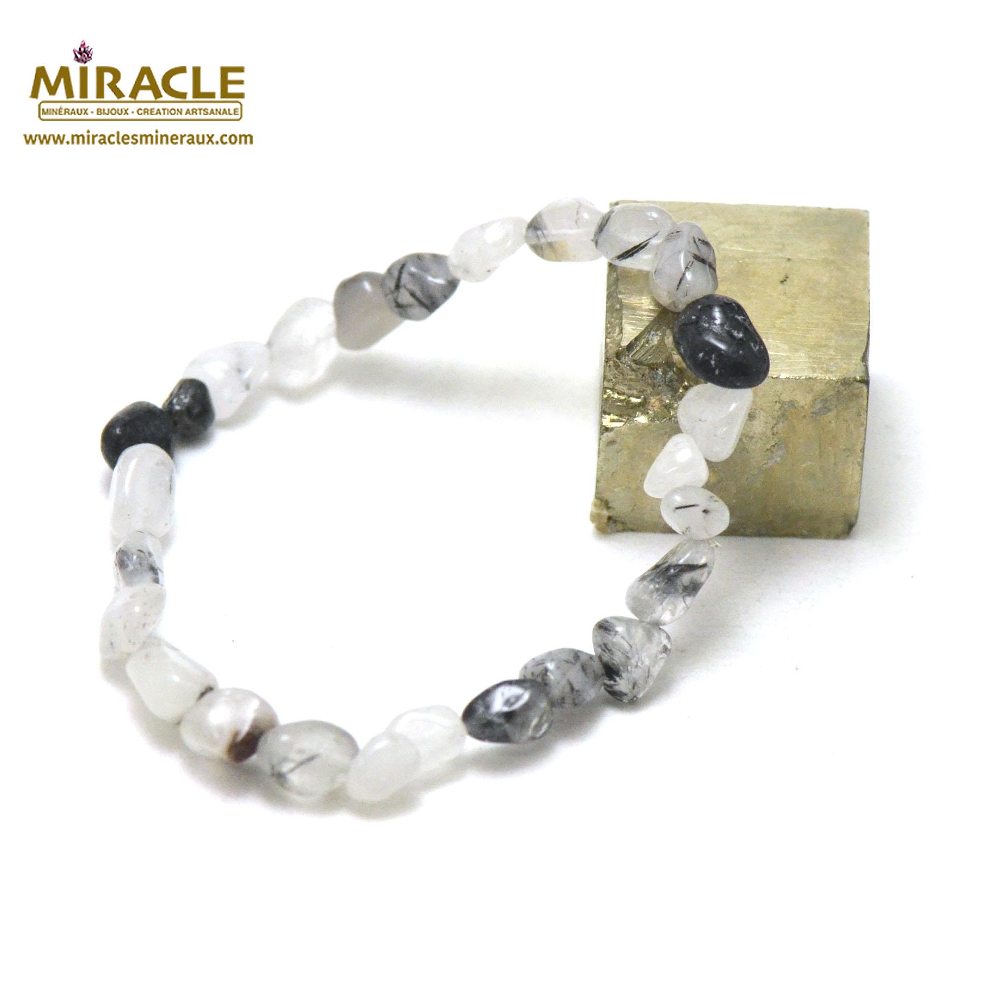 Bracelet quartz tourmaline, perles pierre roulée