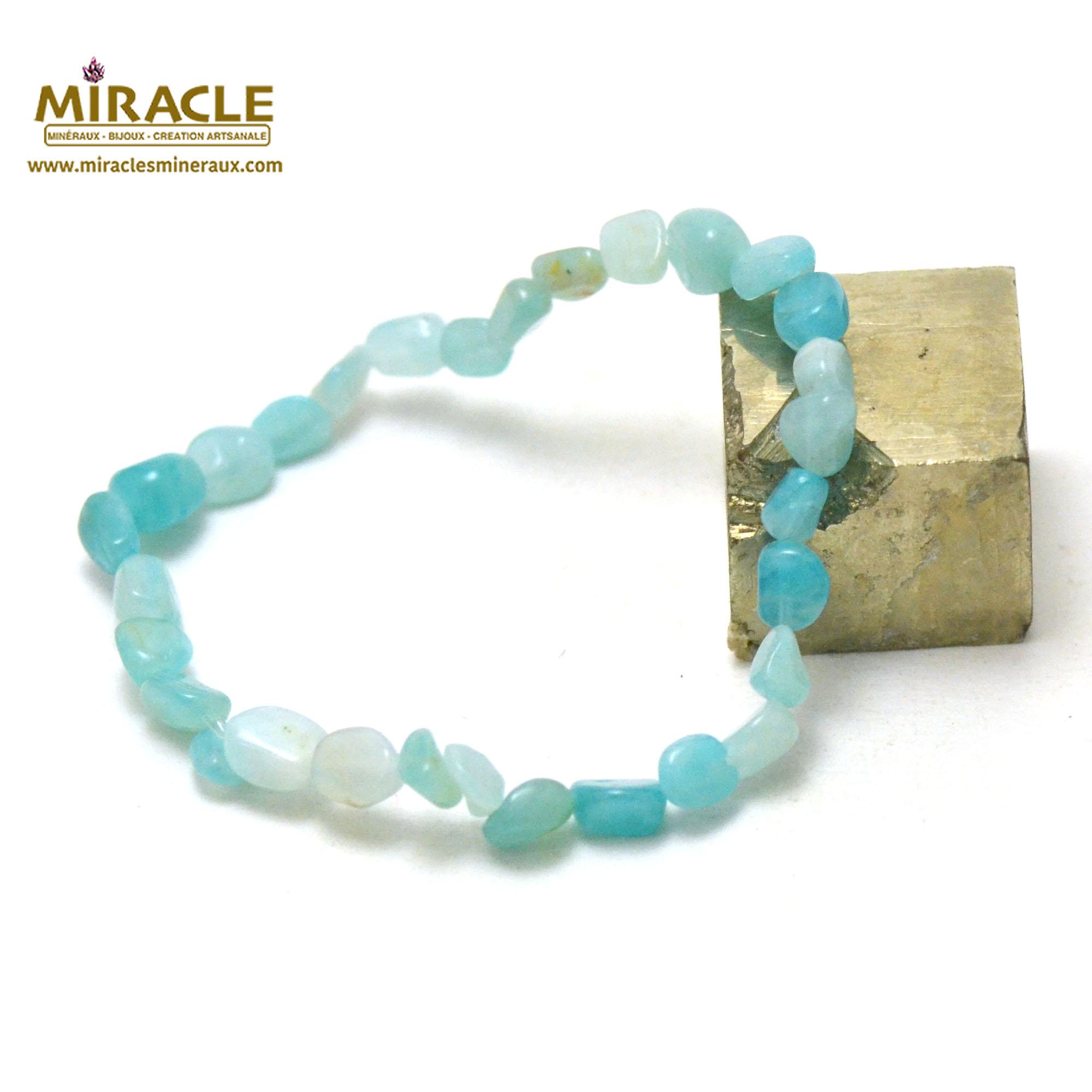 Bracelet amazonite, pierre roulée AA