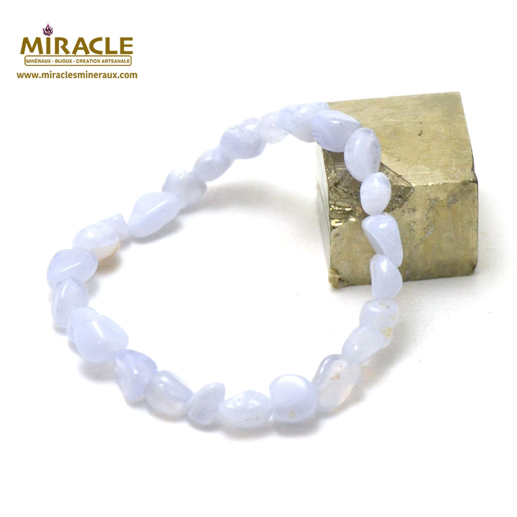 bracelet calcédoine bleue, perle pierre roulée