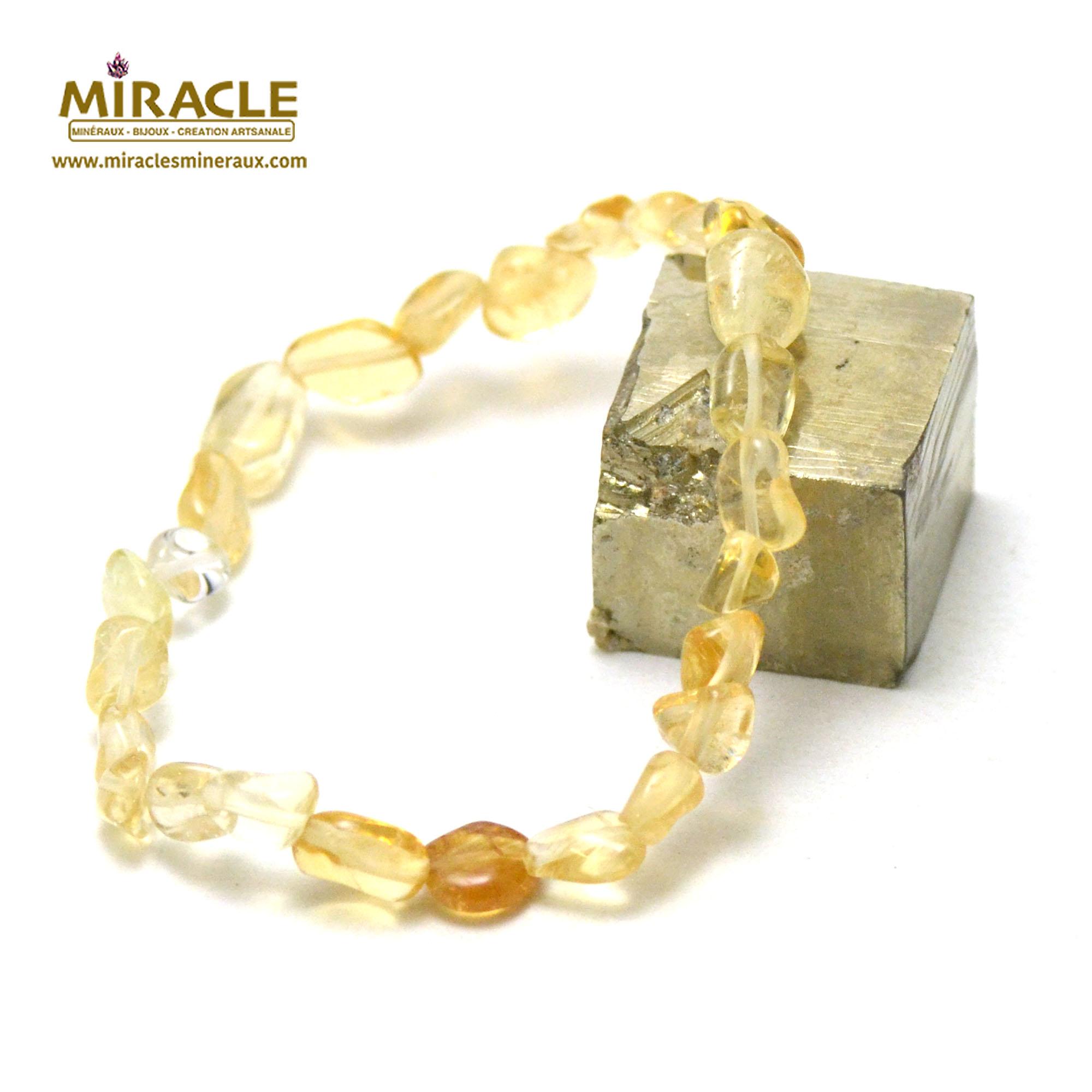 bracelet citrine, perle pierre roulée