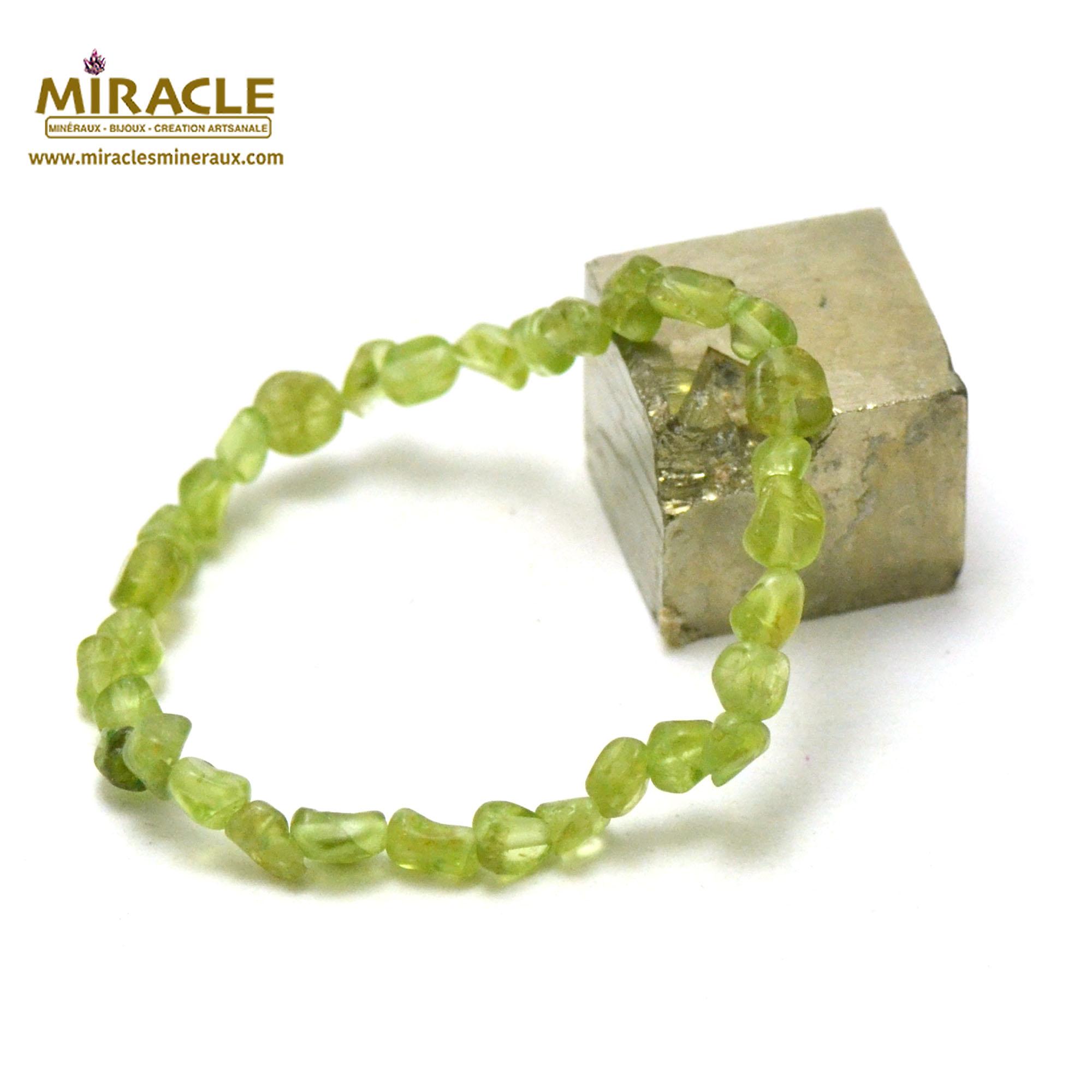 Bracelet péridot, perle pierre roulée