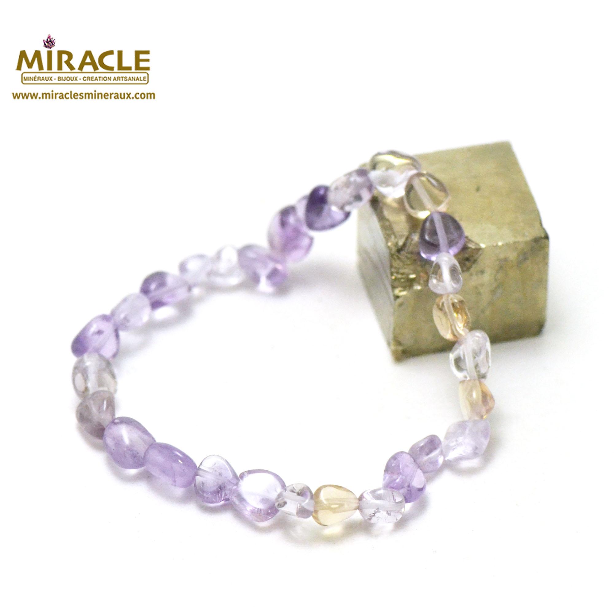 bracelet amétrine, perle pierre roulée