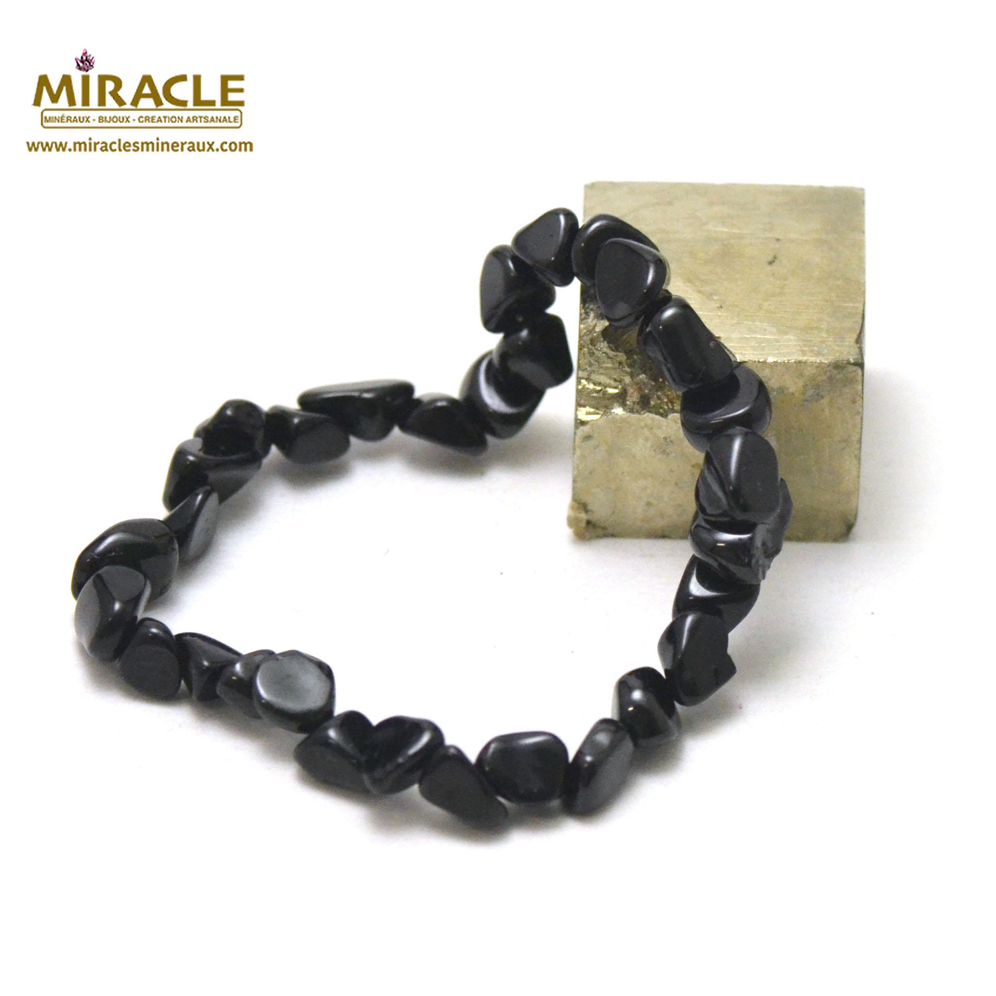 bracelet tourmaline noir, perle pierre roulée