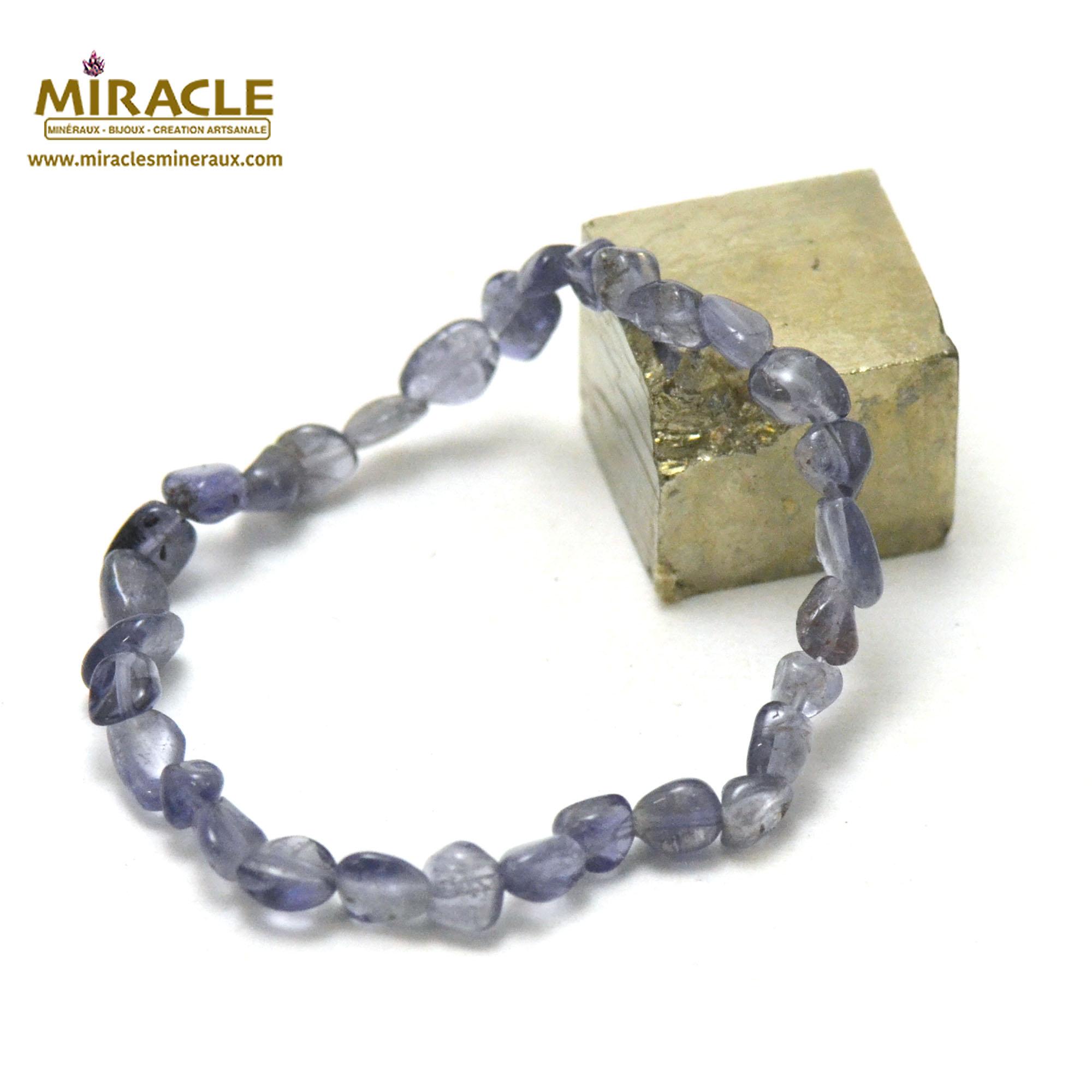 Bracelet iolite, perle pierre roulée