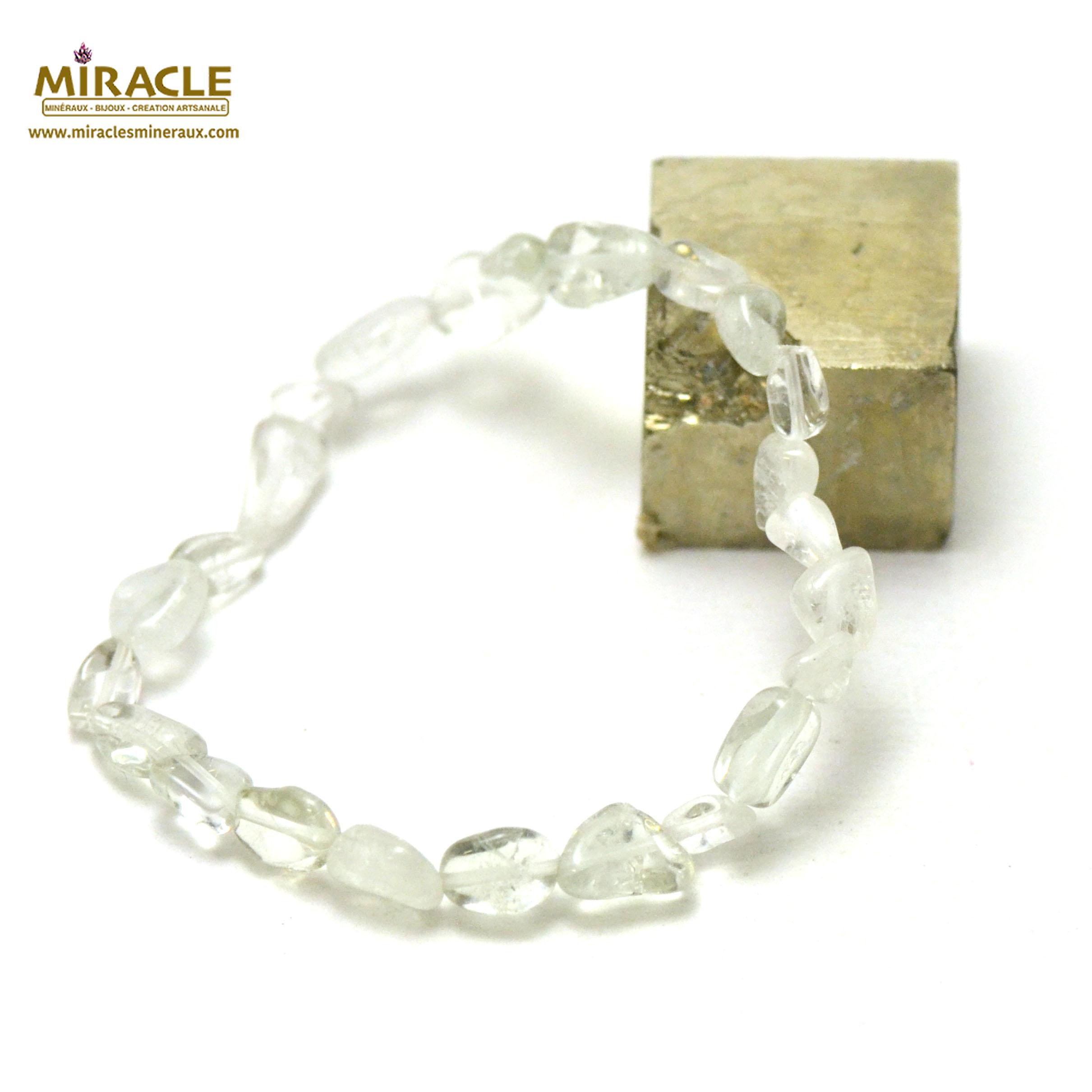 Bracelet apophyllite, perle pierre roulée