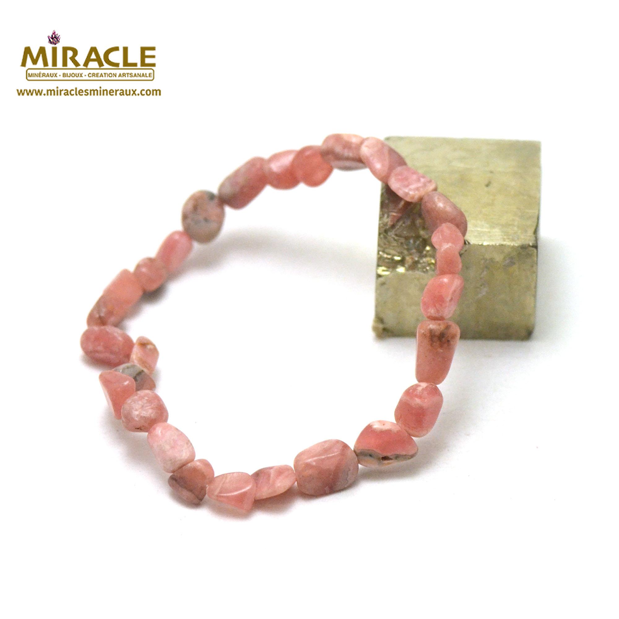 Bracelet rhodochrosite, perle pierre roulée