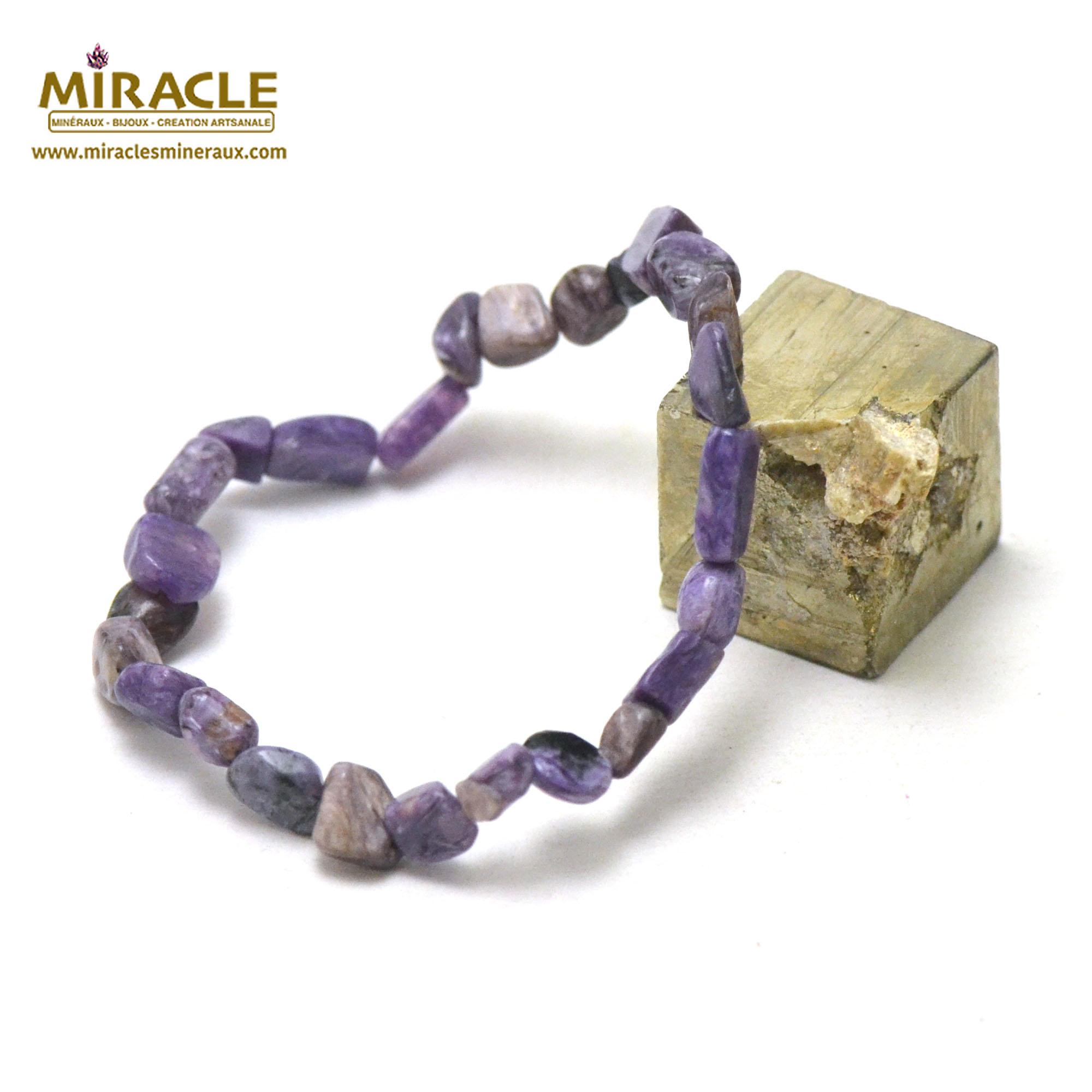 Bracelet charoïte pierre roulée