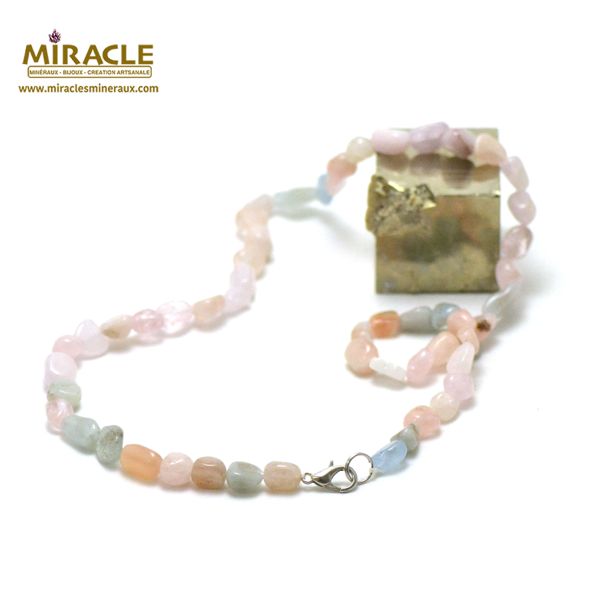 collier Béryl, morganite rose perle pierre roulée