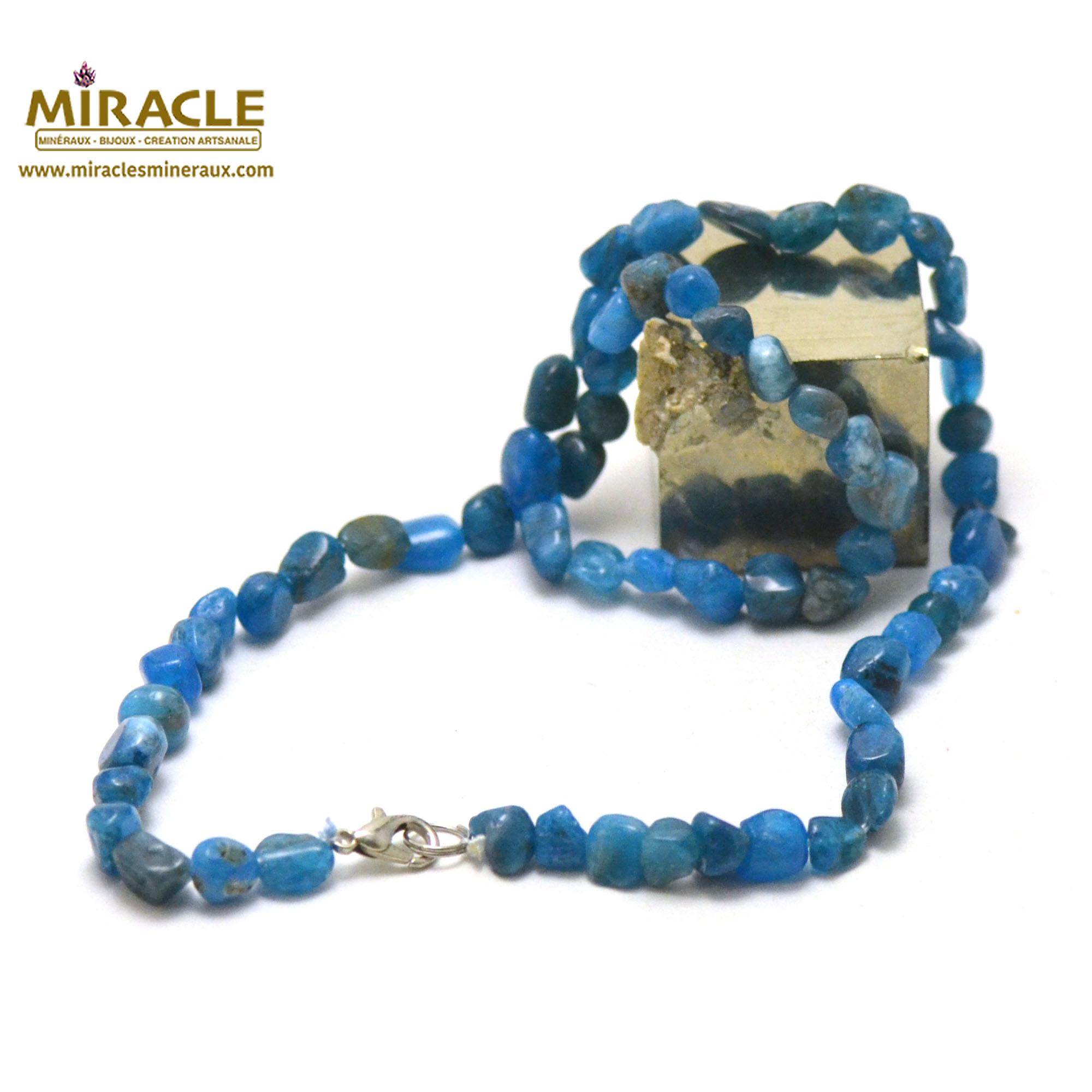 collier en apatite, perle pierre roulée