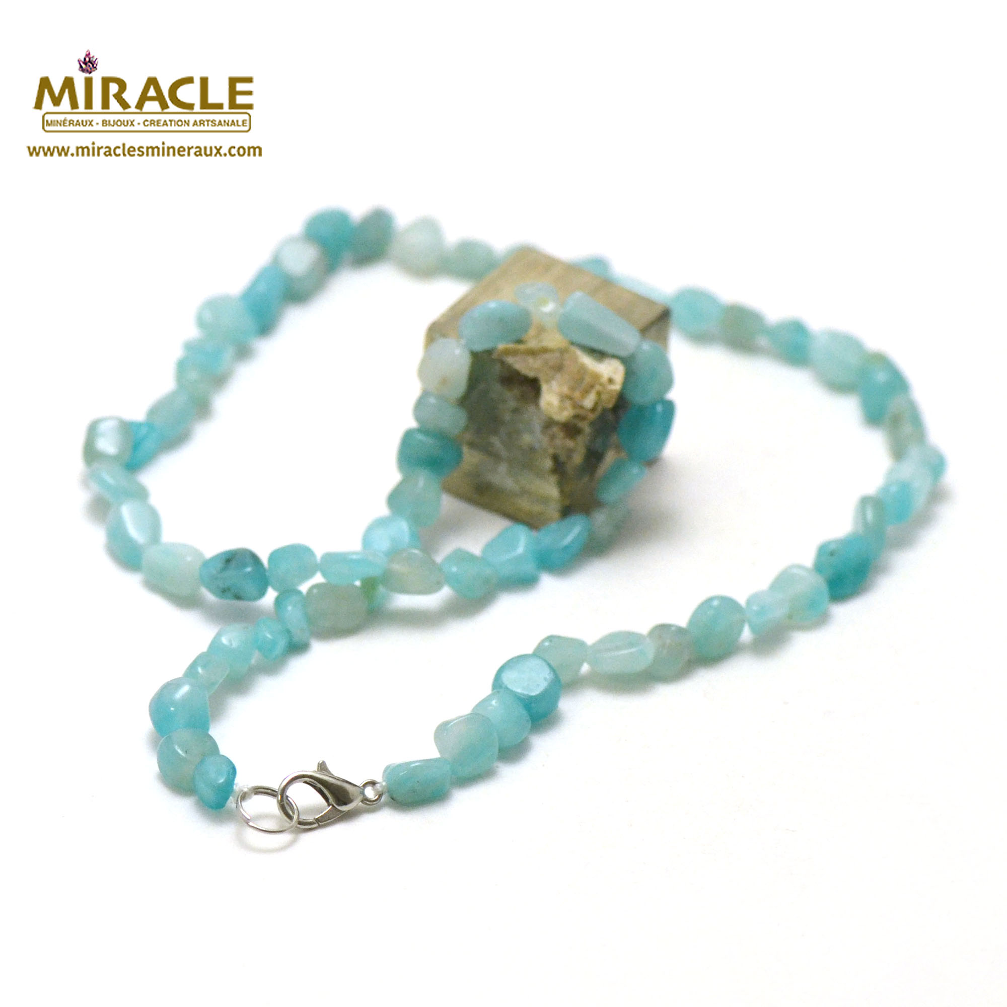 collier amazonite, perle pierre roulée AA