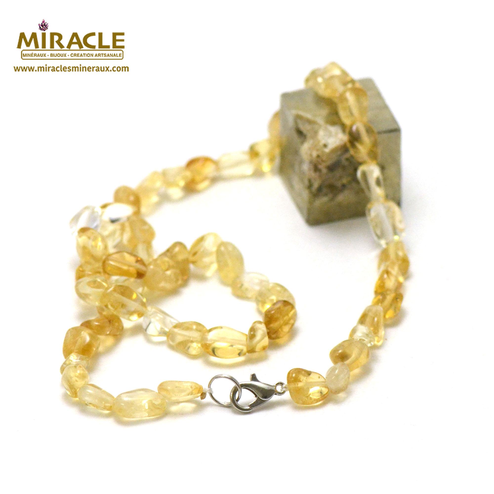collier citrine, perle pierre roulée