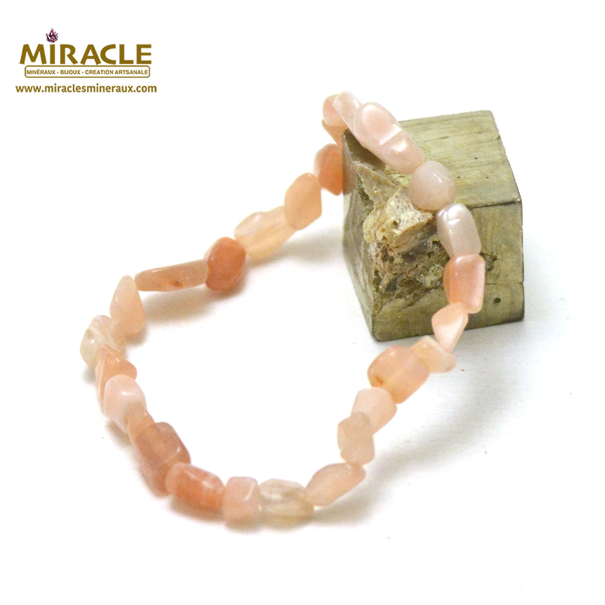 Bracelet pierre de soleil pierre roulée