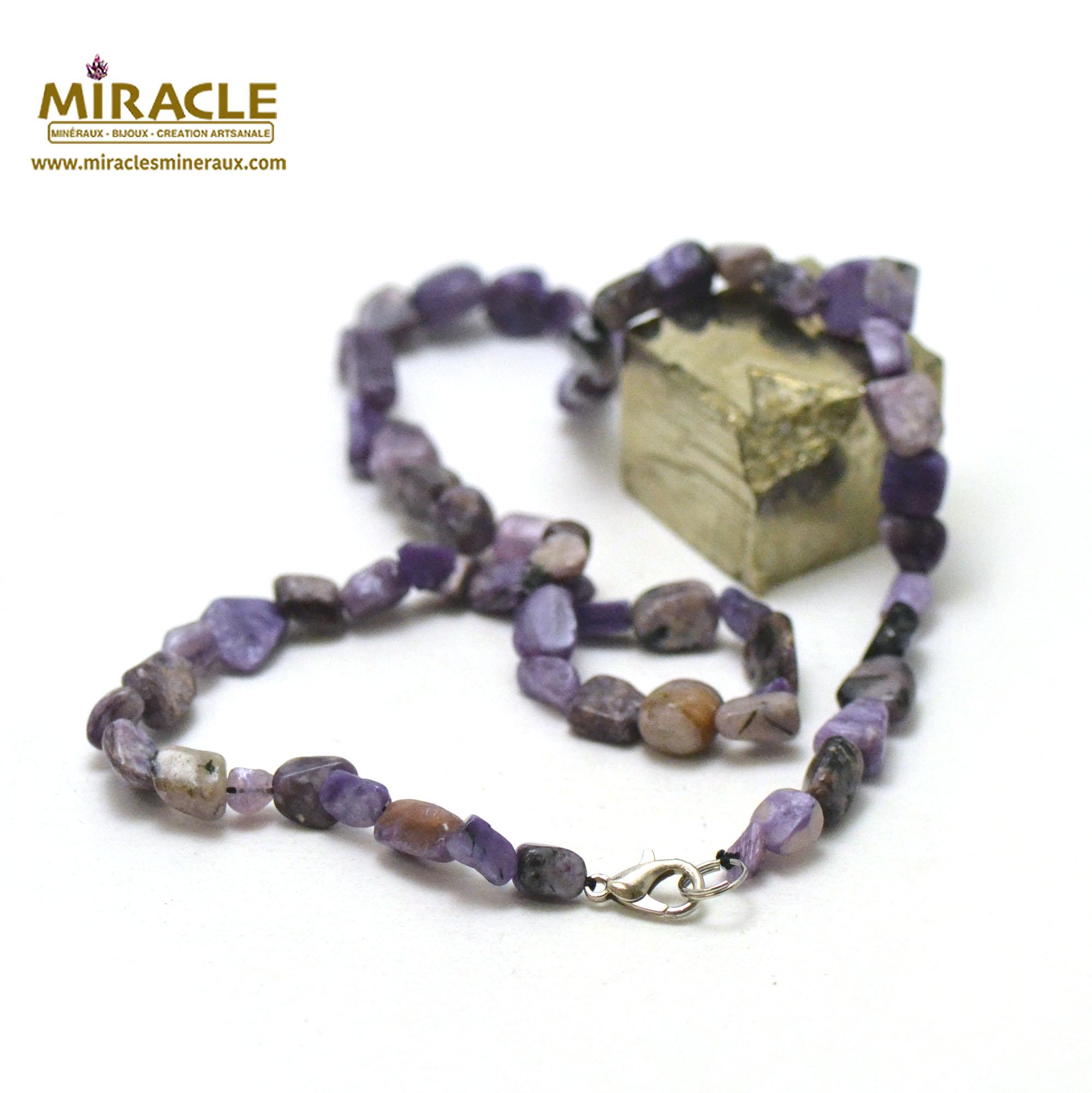 collier charoïte, perle pierre roulée