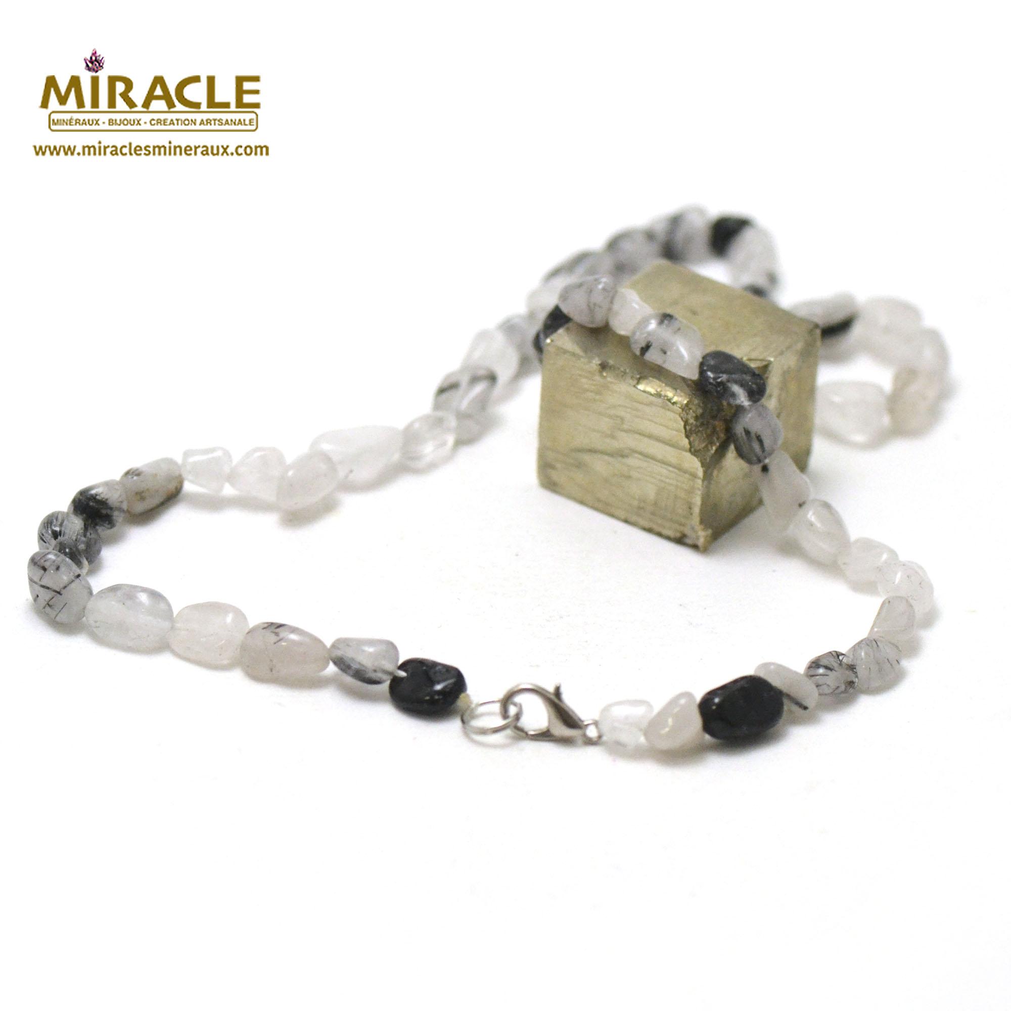 collier quartz tourmaline, perle pierre roulée