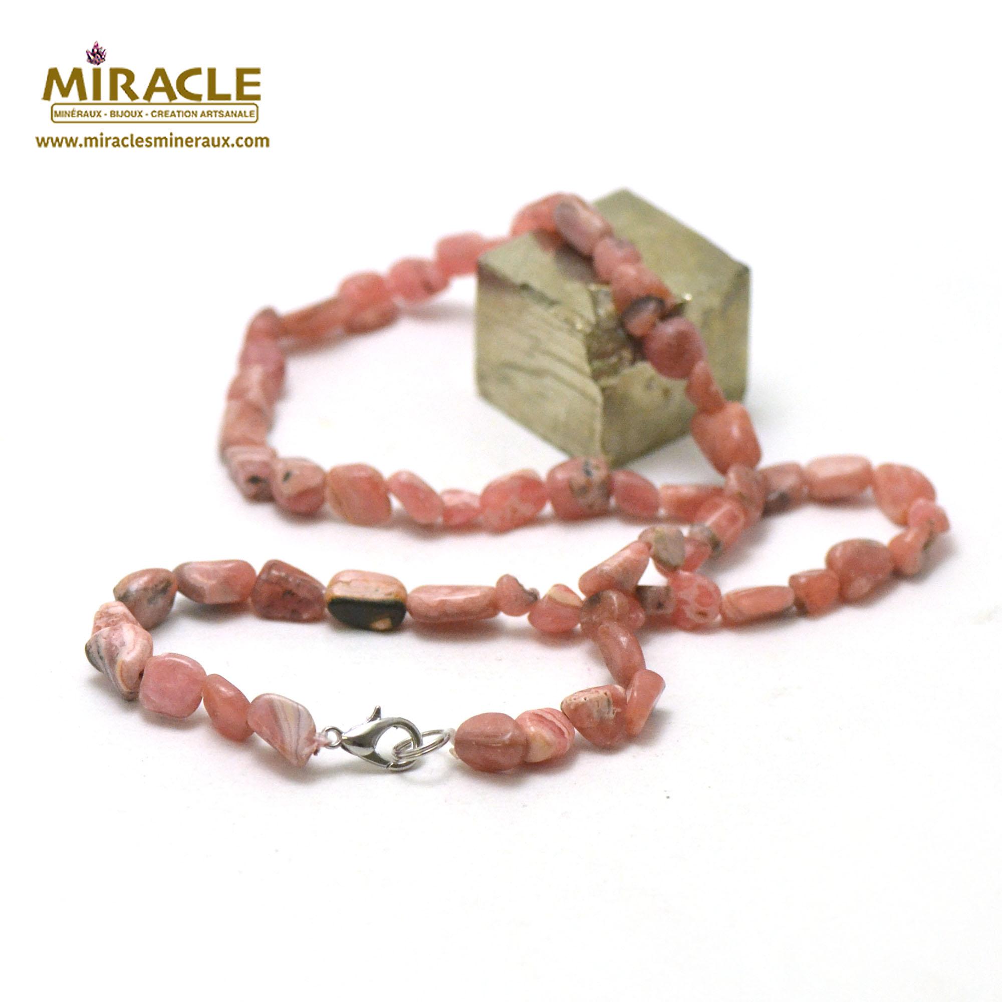 collier rhodochrosite, perle pierre roulée